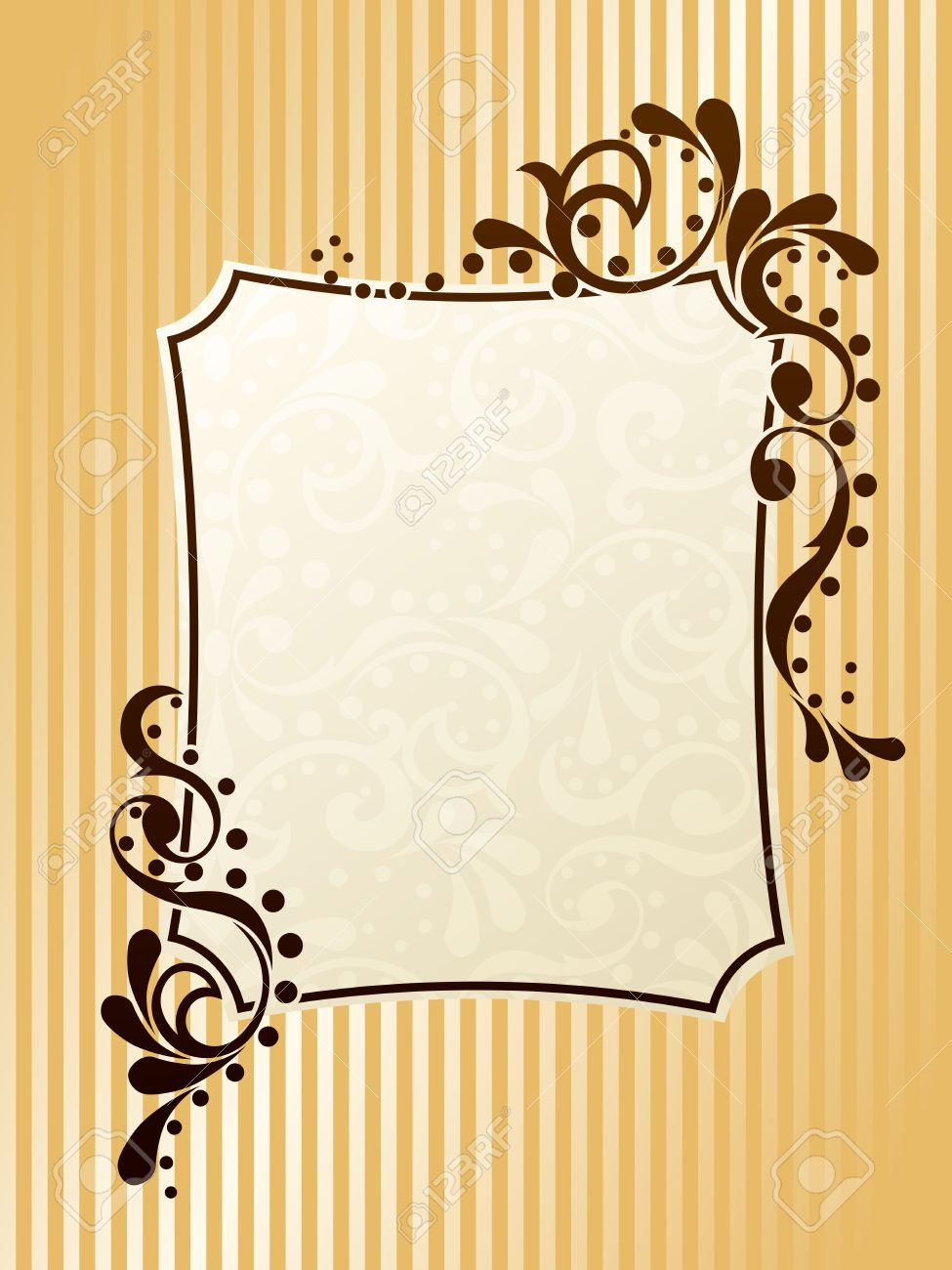 elegant rectangular frame design inspired by victorian era designs graphics are grouped and in several