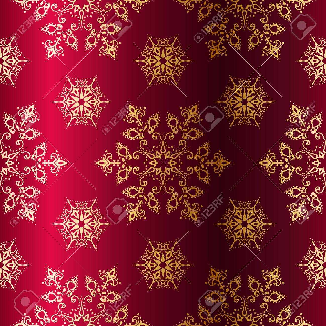 Red seamless Christmas background with gold stars. Tiles can be combined seamlessly. Graphics are grouped and in several layers for easy editing. The file can be scaled to any size. Stock Vector - 5769547