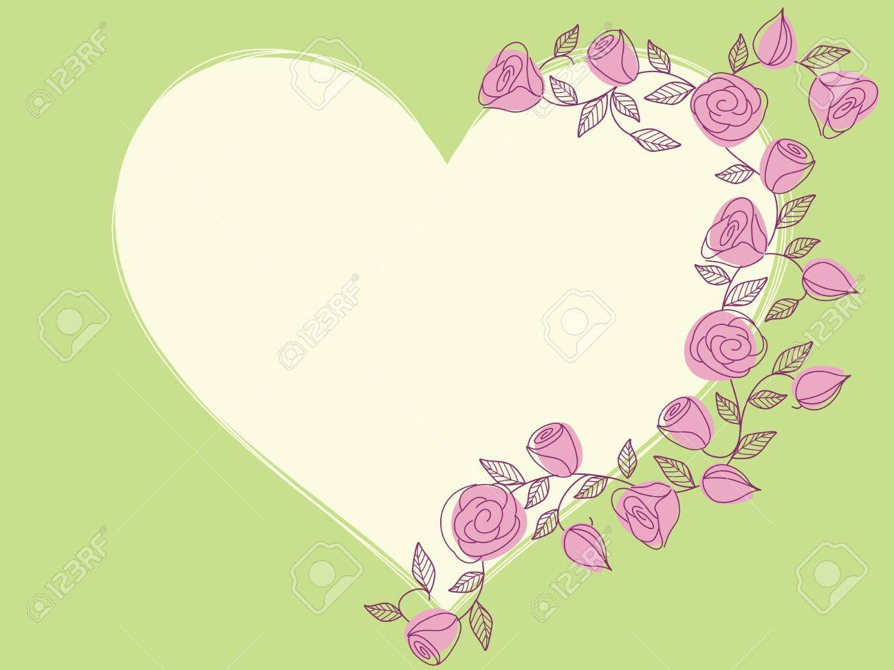 hand drawn heart shaped frame with a fresh springtime color scheme graphics are grouped