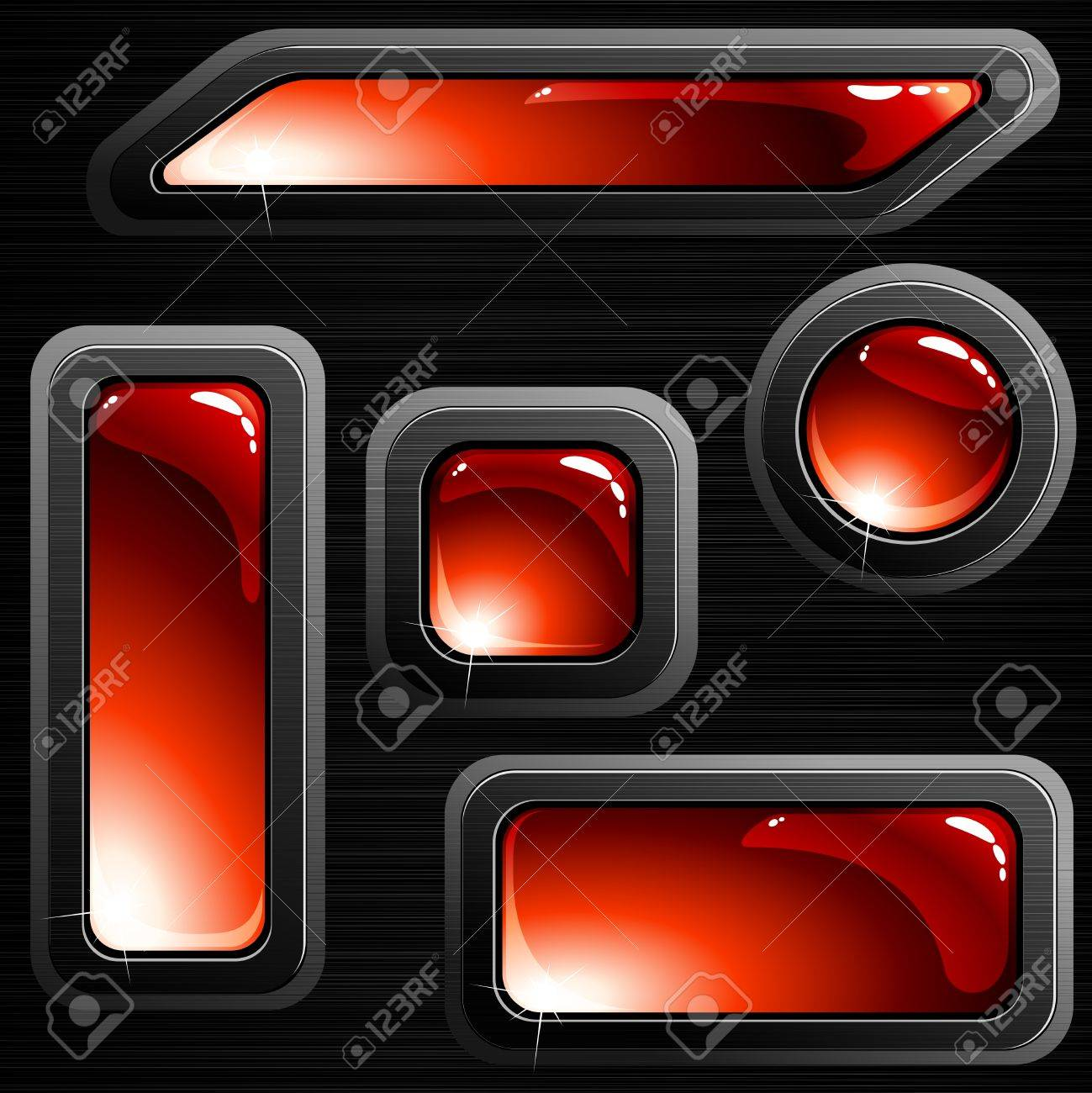Collection of red glossy buttons with a brushed steel frame. Graphics are grouped and in several layers for easy editing. The file can be scaled to any size. Stock Vector - 6386264