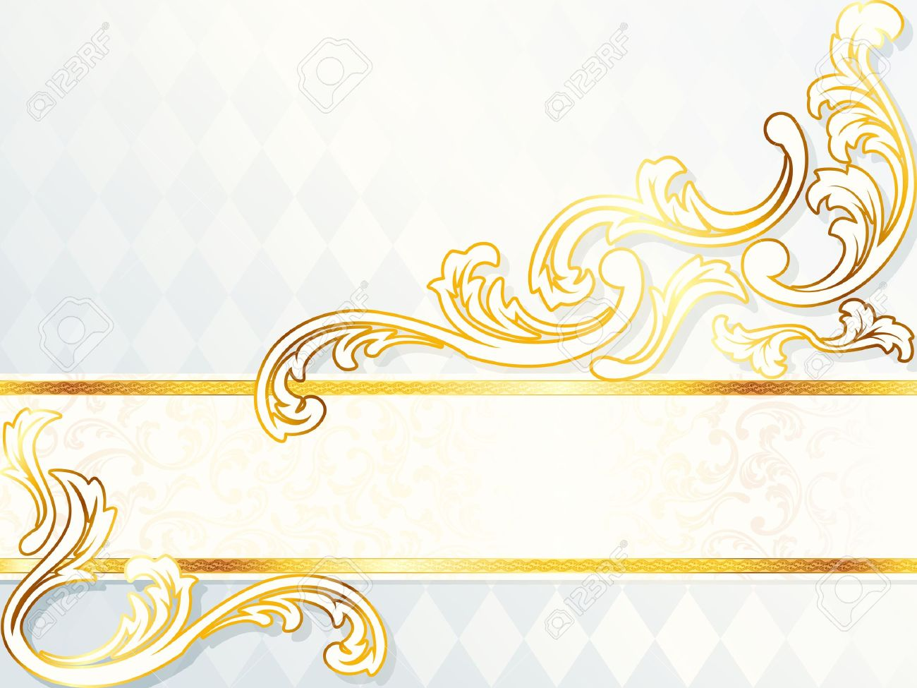Elegant horizontal white and gold wedding banner. Graphics are grouped and in several layers for easy editing. The file can be scaled to any size. Stock Vector - 6700041