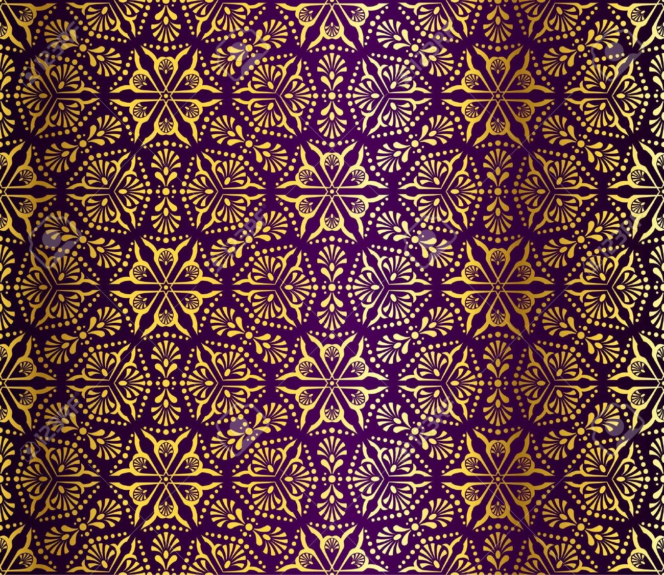 Seamless gold on purple pattern inspired by Islamic art. Stock Vector - 6803335