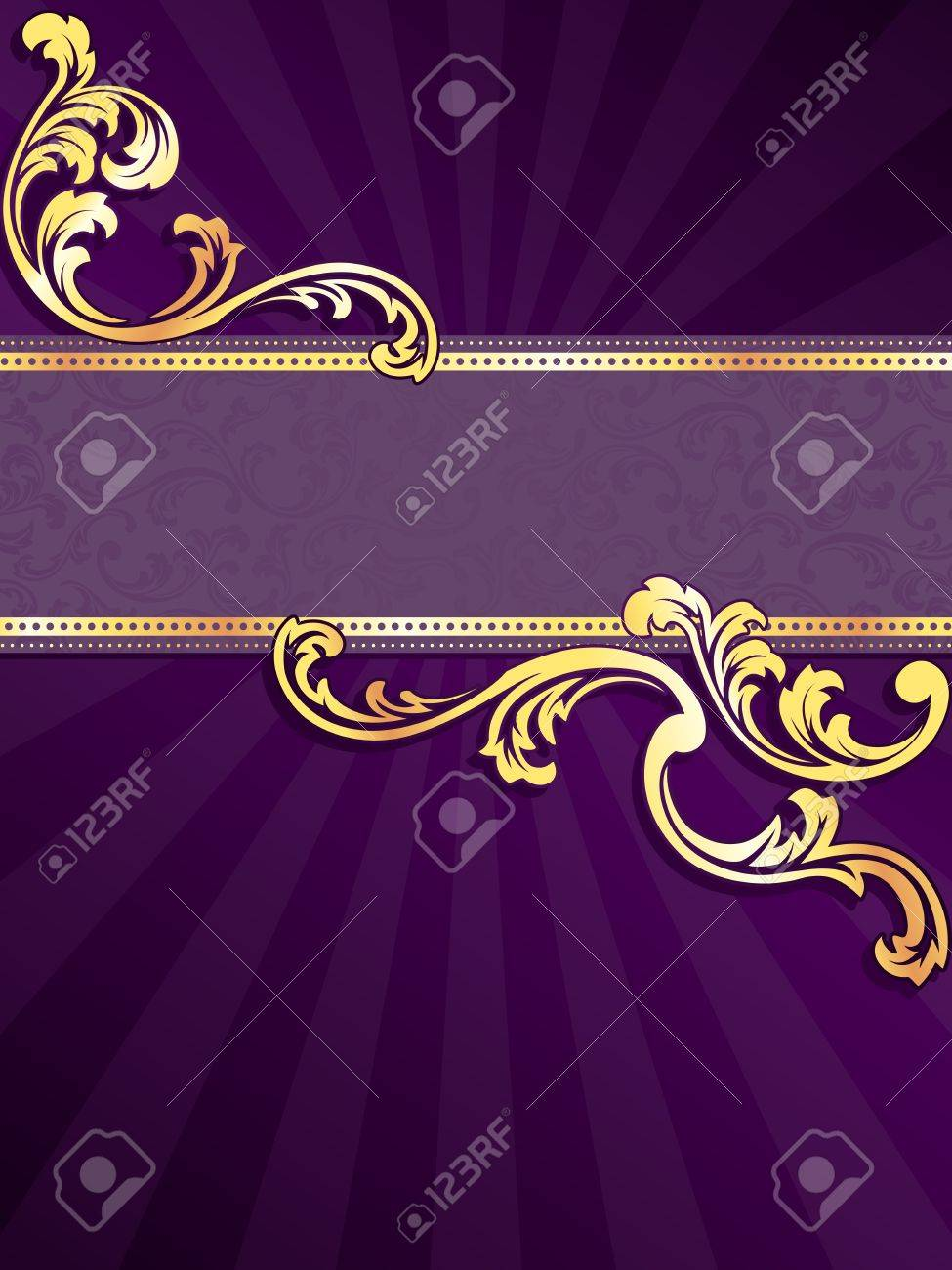 stylish vertical purple banner with metallic swirls. Graphics are grouped and in several layers for easy editing. The file can be scaled to any size. Stock Vector - 6827343