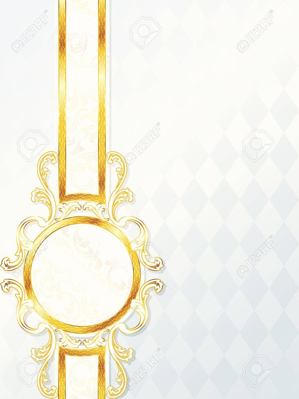 Elegant vertical white and gold wedding banner. Graphics are grouped and in several layers for easy editing. The file can be scaled to any size. Stock Vector - 6971978