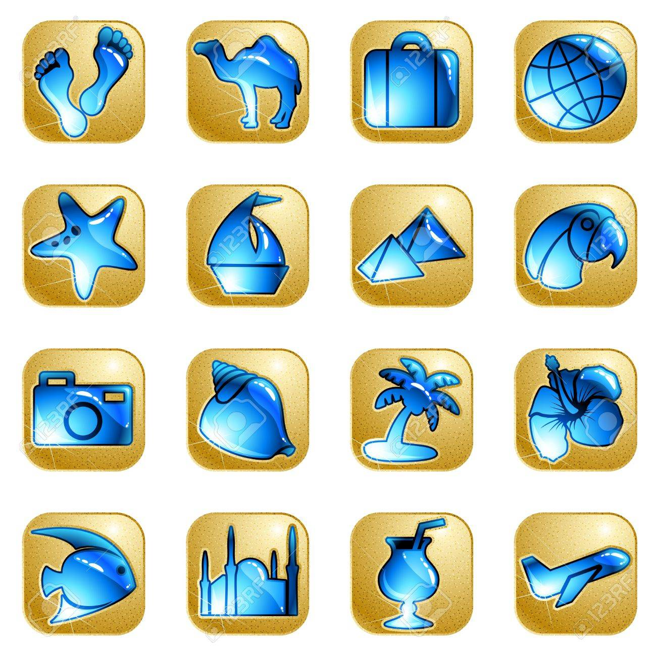 Collection of 16 sandstone and water icons with a travel theme. Graphics are grouped and in several layers for easy editing. The file can be scaled to any size. Stock Vector - 7026088