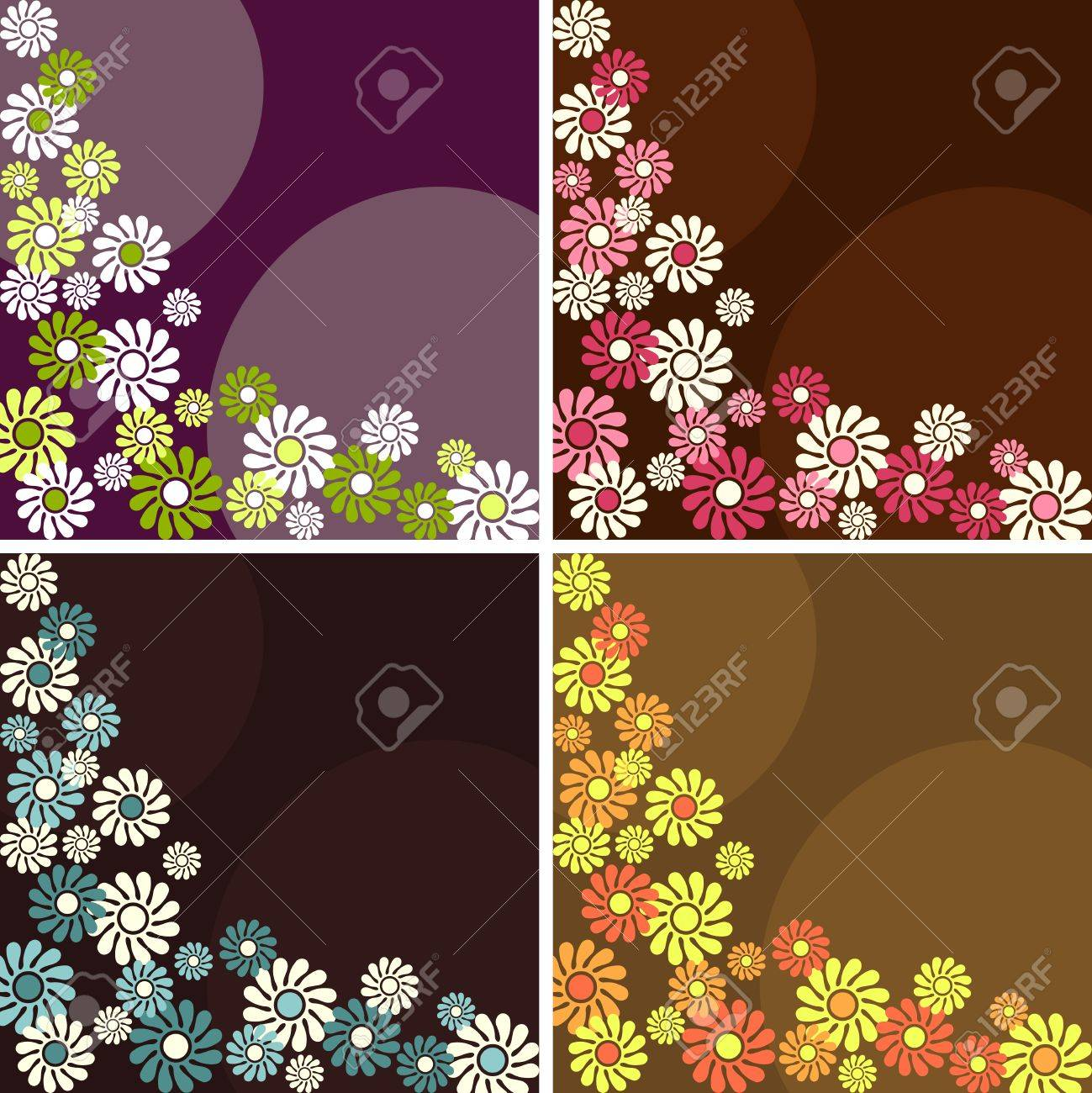 Four 1960's/1970's retro backgrounds in dark colors. The tiles can be combined seamlessly. Graphics are grouped and in several layers for easy editing. The file can be scaled to any size. Stock Vector - 7949638