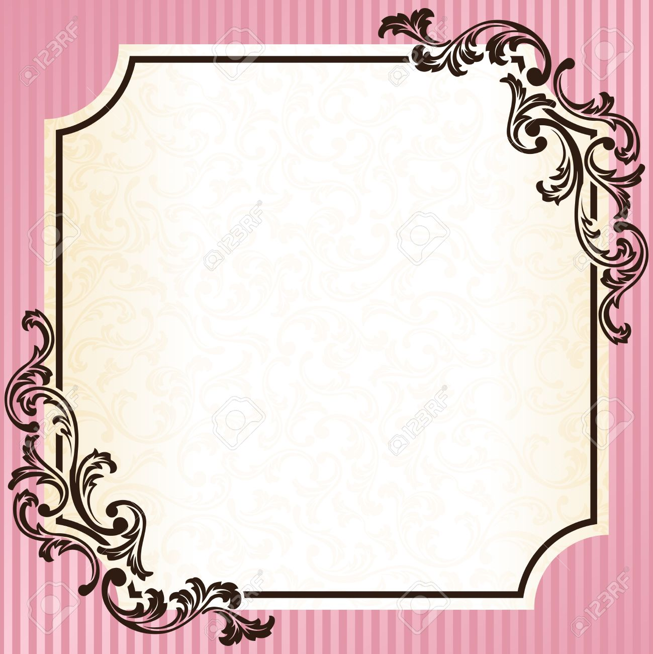 Elegant pink and gold frame inspired by Rococo era designs. Graphics are grouped and in several layers for easy editing. The file can be scaled to any size. Stock Vector - 8557099