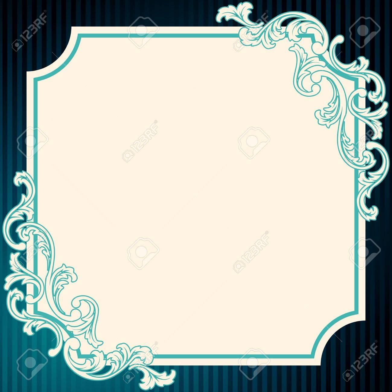 Marco De Color Azul Profundo Elegante Inspirado Por Los Diseños De ...