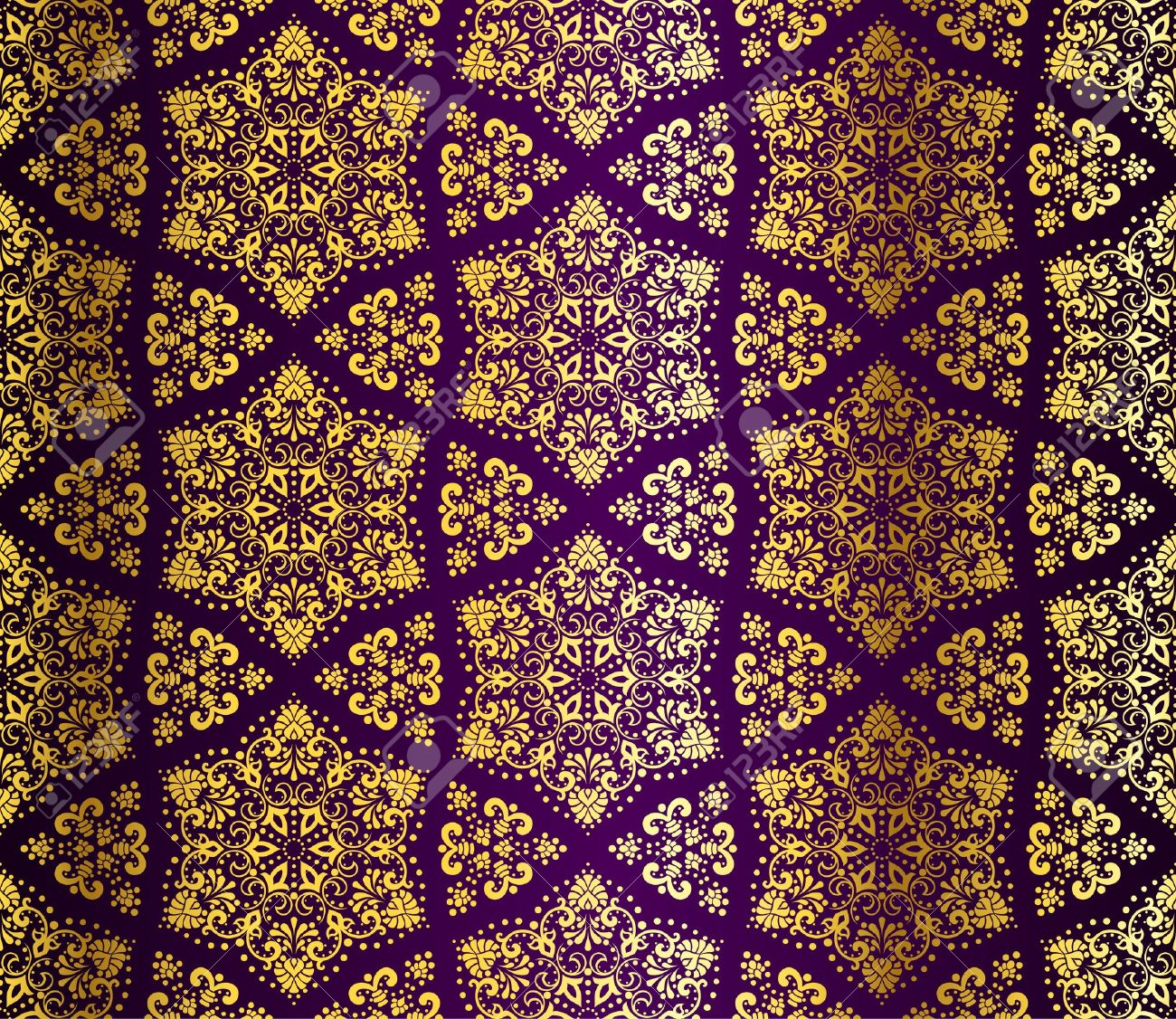 Seamless purple and gold starshaped pattern inspired by Islamic art.  The tiles can be combined seamlessly. Graphics are grouped and in several layers for easy editing. The file can be scaled to any size. Stock Vector - 8557103