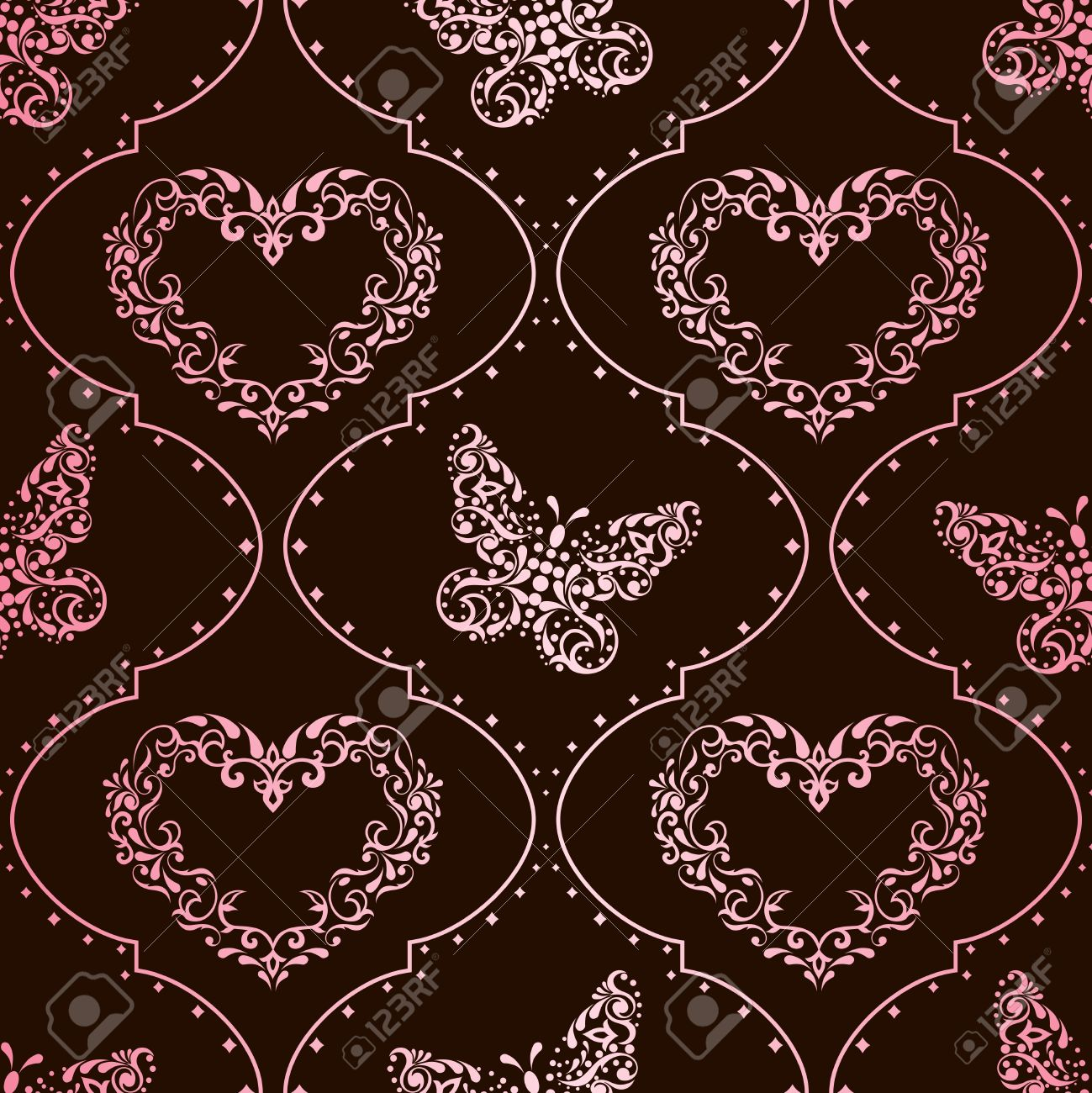 Romantic pink and brown vintage seamless background with intricate design. Graphics are grouped and in several layers for easy editing. The file can be scaled to any size. Stock Vector - 8624454