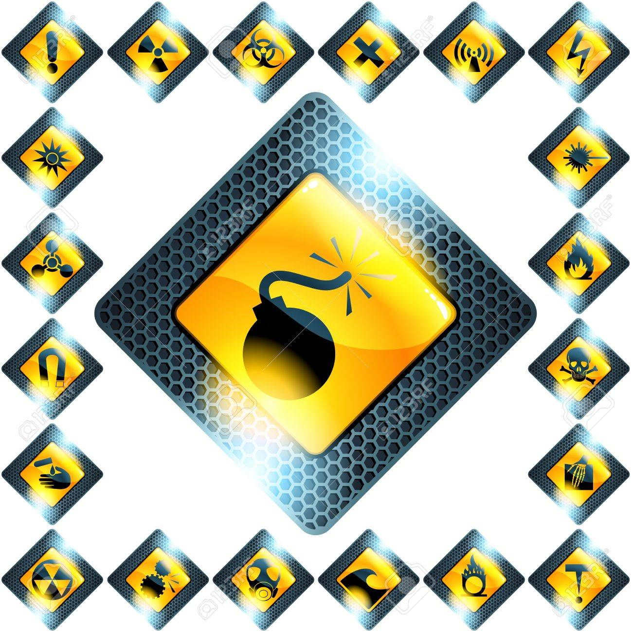 Collection of glass and metal hazard symbols. Graphics are grouped and in several layers for easy editing. The file can be scaled to any size. Stock Vector - 9825509