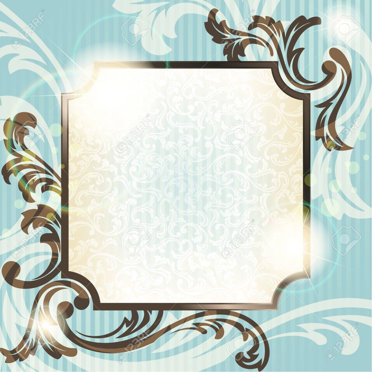 Elegant blue and brown transparent background design inspired by French rococo style. Graphics are grouped and in several layers for easy editing. The file can be scaled to any size. Stock Vector - 9825573
