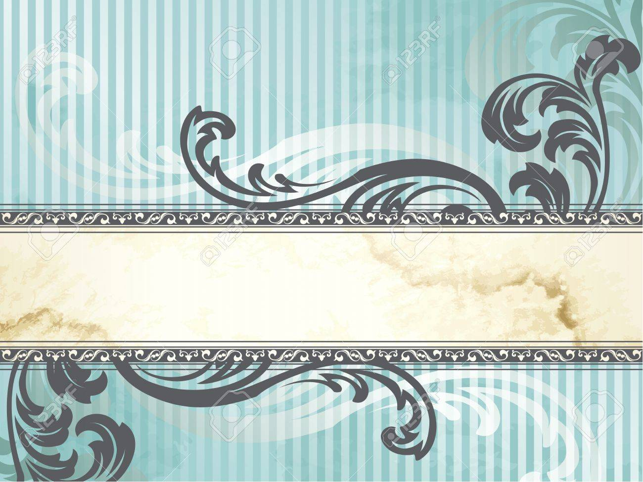 Elegant horizontal blue and silver banner design inspired by Victorian style. Graphics are grouped and in several layers for easy editing. The file can be scaled to any size. Stock Vector - 9936198