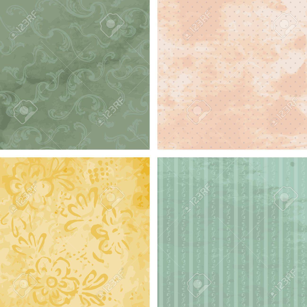 Four grungy backgrounds for Victorian Era designs. Graphics are grouped and in several layers for easy editing. The file can be scaled to any size. Stock Vector - 10312855