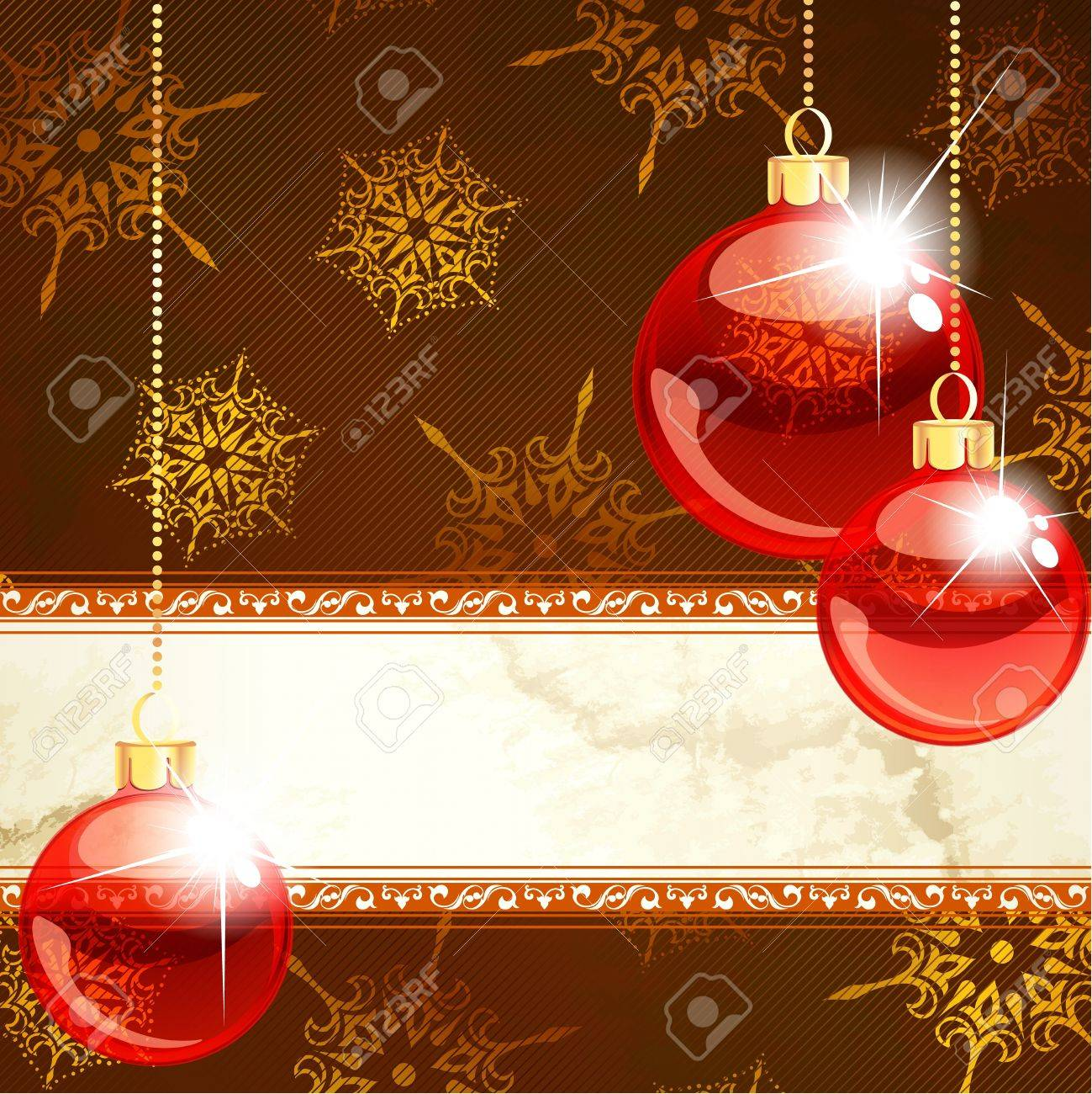 Gold and red ornaments - Red And Gold Christmas Banner With Transparent Glass Ornaments Graphics Are Grouped And In Several