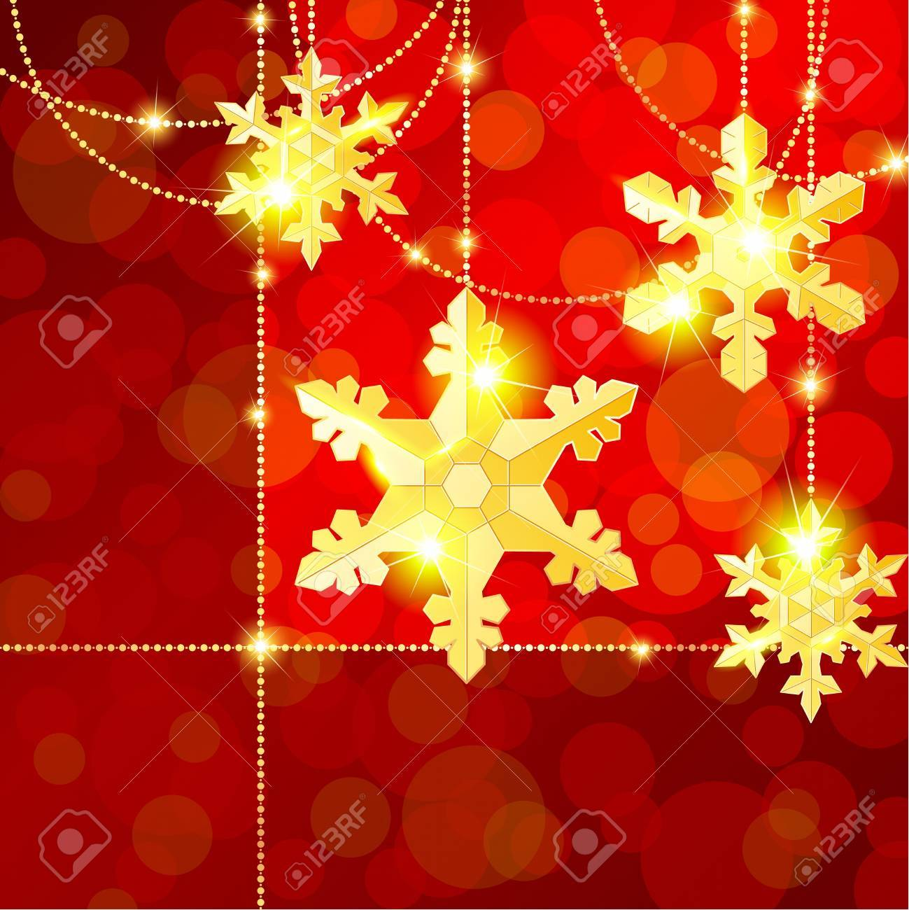 Gold and red ornaments - Red And Gold Christmas Banner With Delicate Snowflake Ornaments Graphics Are Grouped And In Several