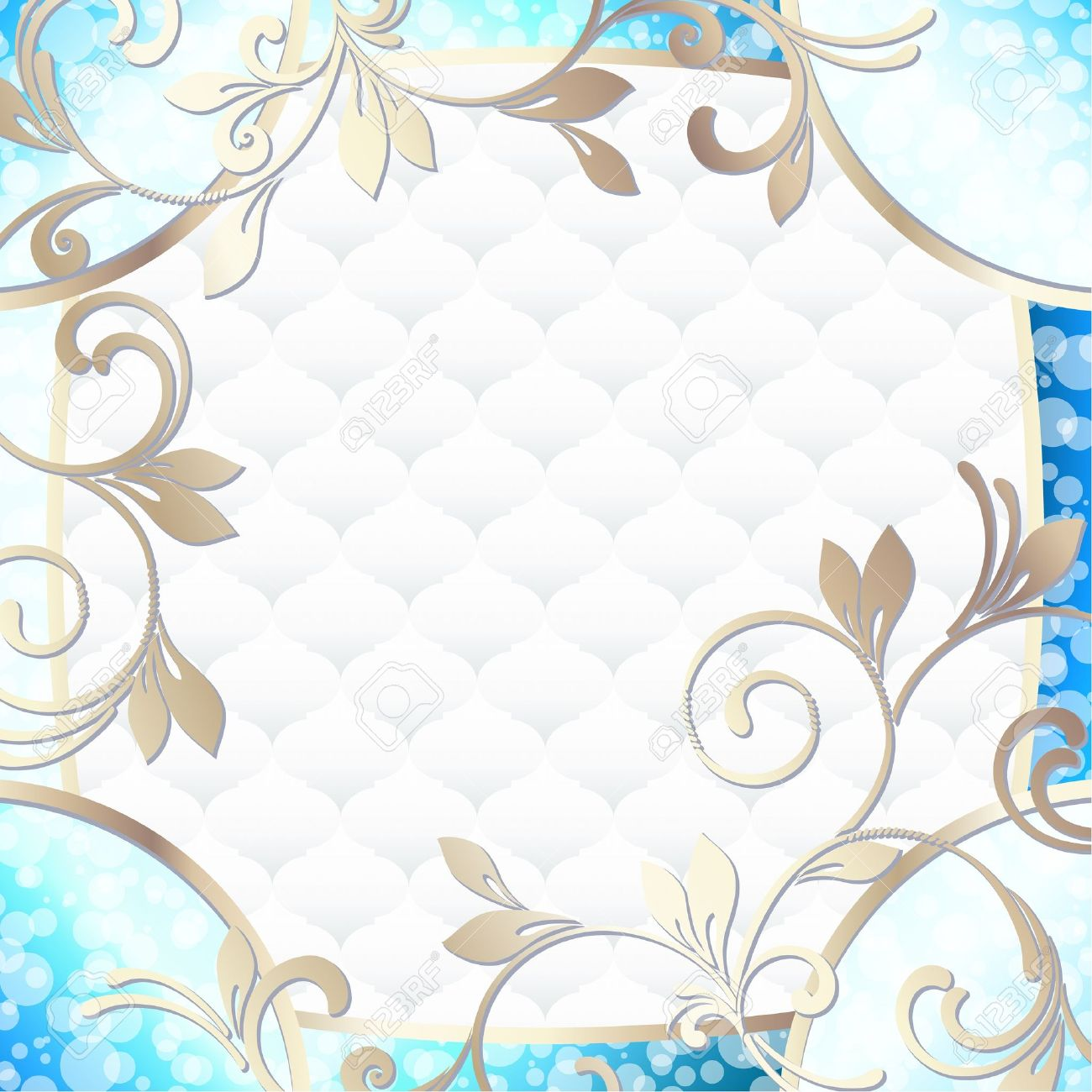 Elegant bright blue frame inspired by Rococo era designs  Graphics are grouped and in several layers for easy editing  The file can be scaled to any size Stock Vector - 14557975