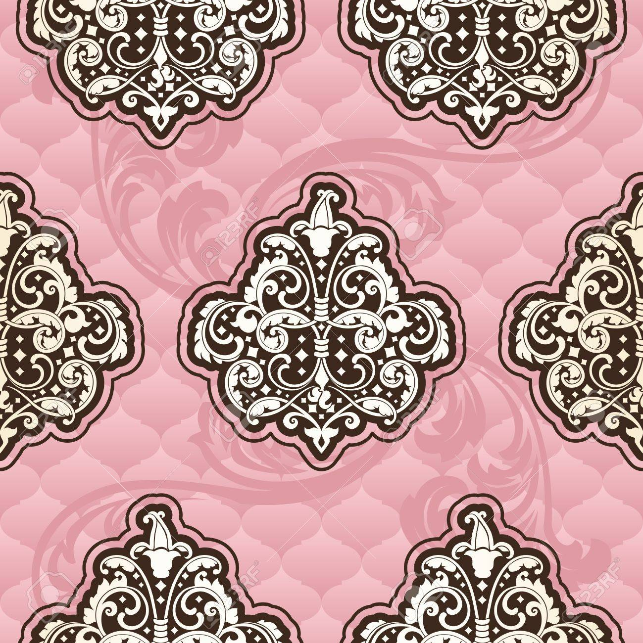 Seamless pink pattern inspired by Rococo era designs.  The tiles can be combined seamlessly. Graphics are grouped and in several layers for easy editing. The file can be scaled to any size. Stock Vector - 14653390