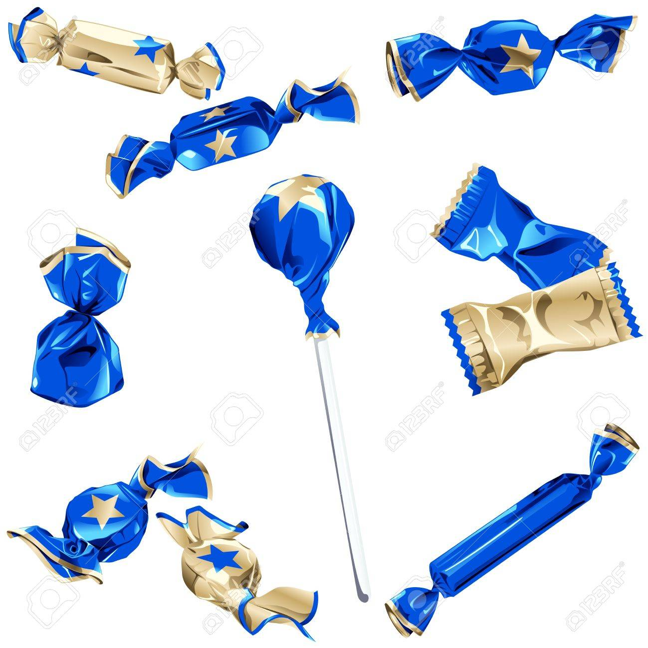 Set Of Different Kinds Of Candy In Blue And Gold Wrappers With ...