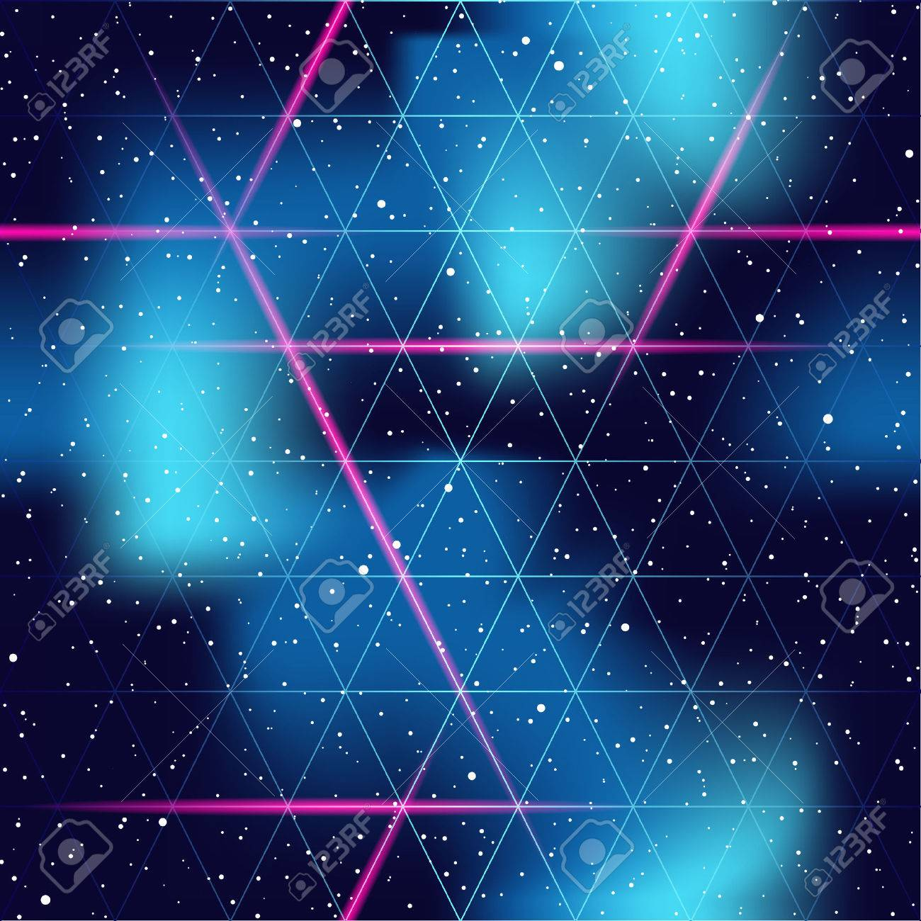 1980's inspired retrofuturistic seamless pattern. Graphics are grouped and in several layers for easy editing. The file can be scaled to any size - 52404989