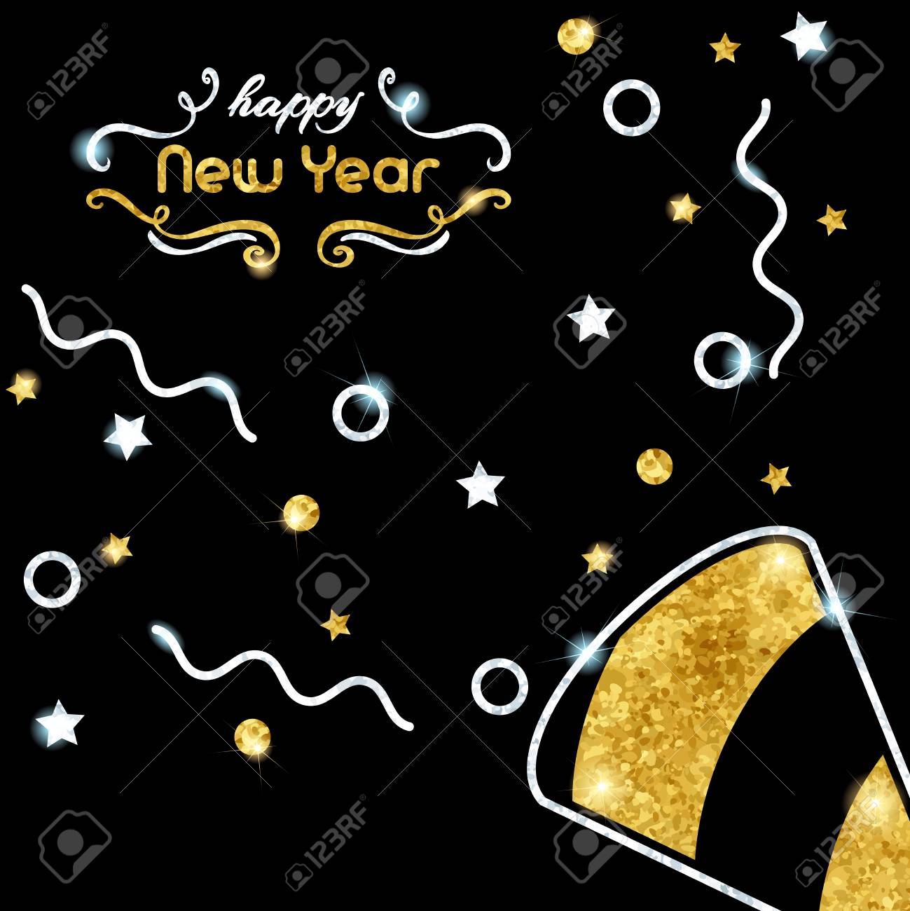 elegant black new years eve background with gold and silver party design graphics are grouped