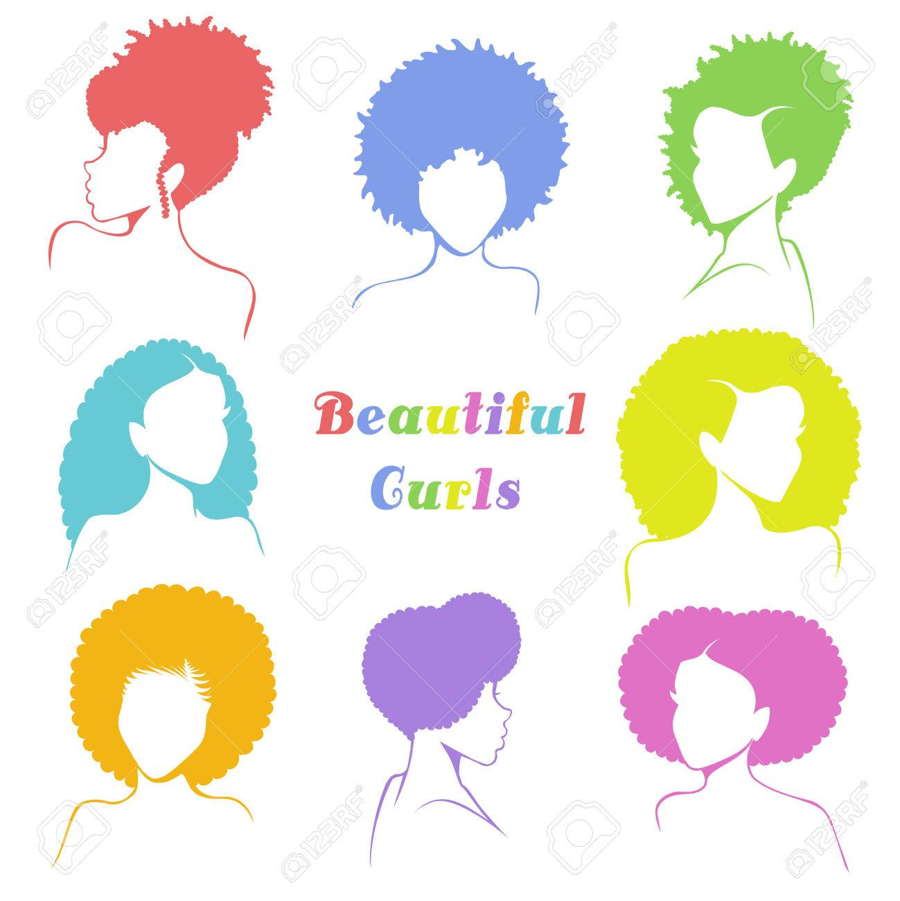 Set of 8 stylized busts of women with natural curly hair. Graphics are grouped and in several layers for easy editing. The file can be scaled to any size. - 80632617
