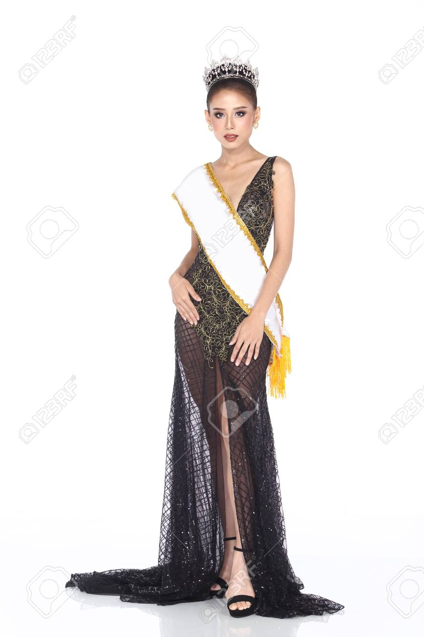 Full Length Of Miss Pageant Contest In Evening Ball Gown Long