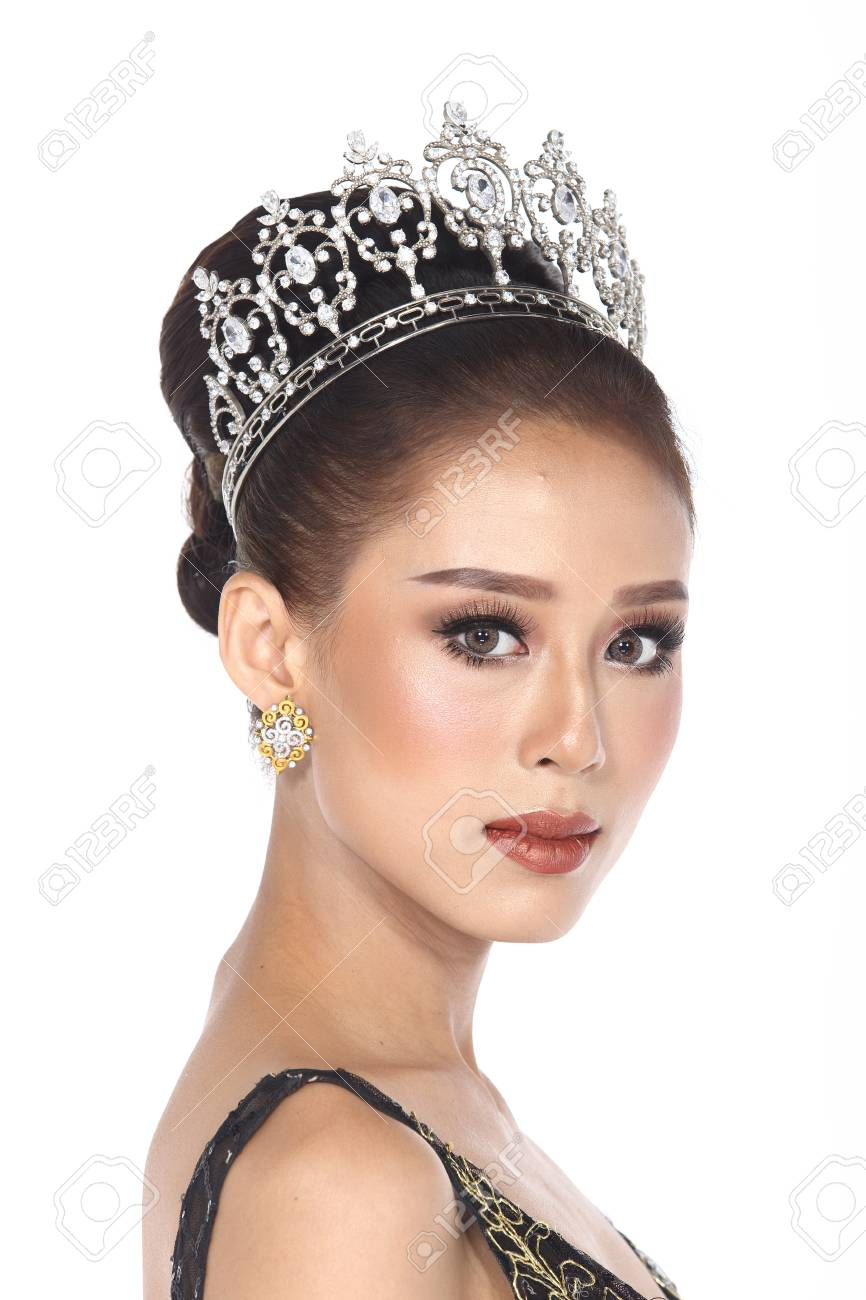 Portrait Of Miss Pageant Contest In Black Evening Ball Gown Long