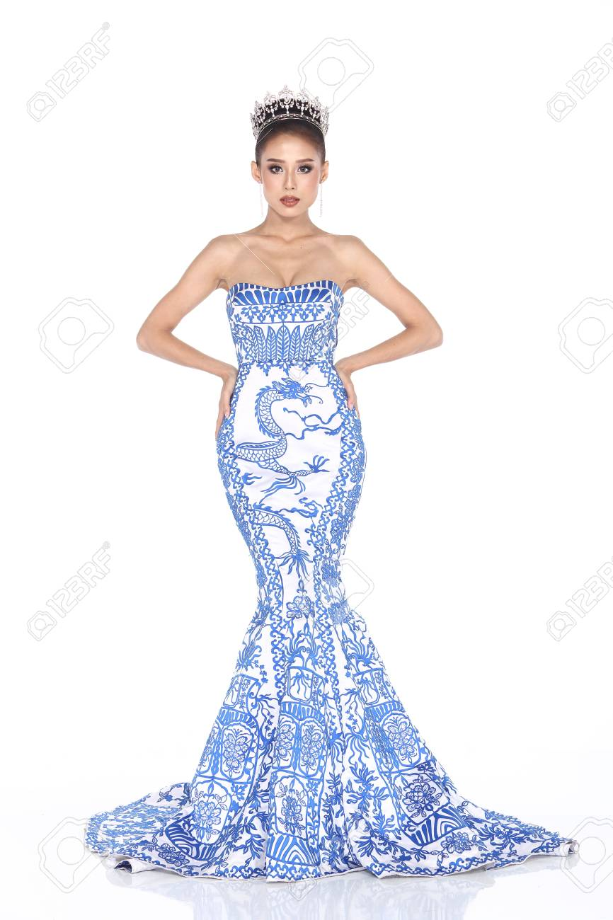 Full Length Of Miss Pageant Contest In Graphic Blue Evening Ball