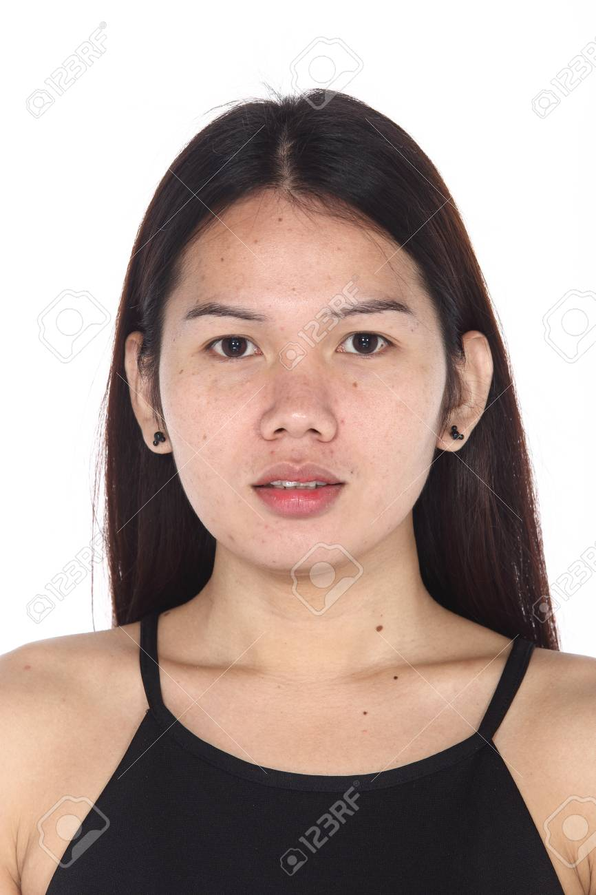 Asian Transgender Woman before make up hair style. no retouch, fresh face  with nice