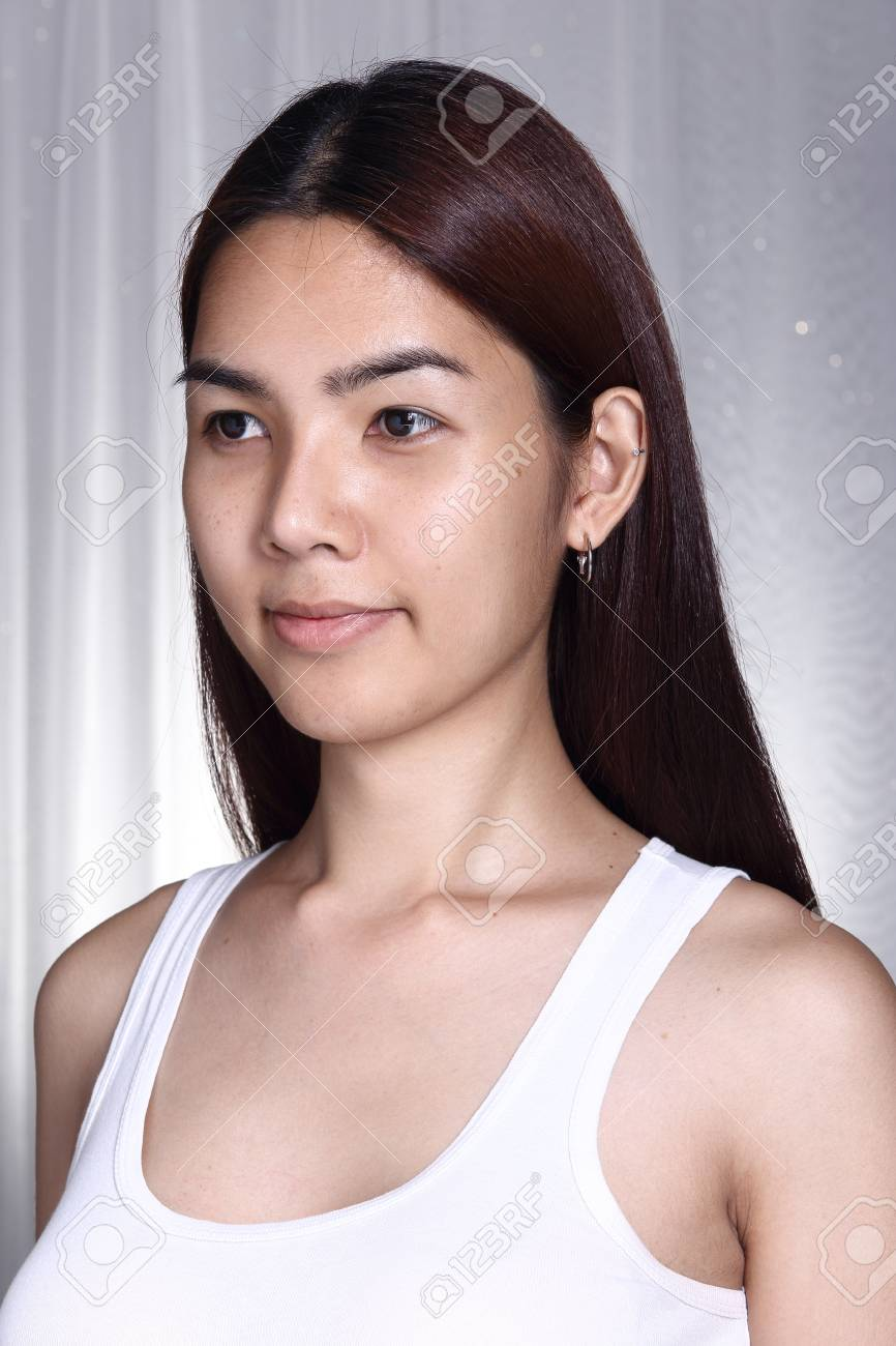 Asian Woman Transgender Before Make Up Brunette Hair Style No