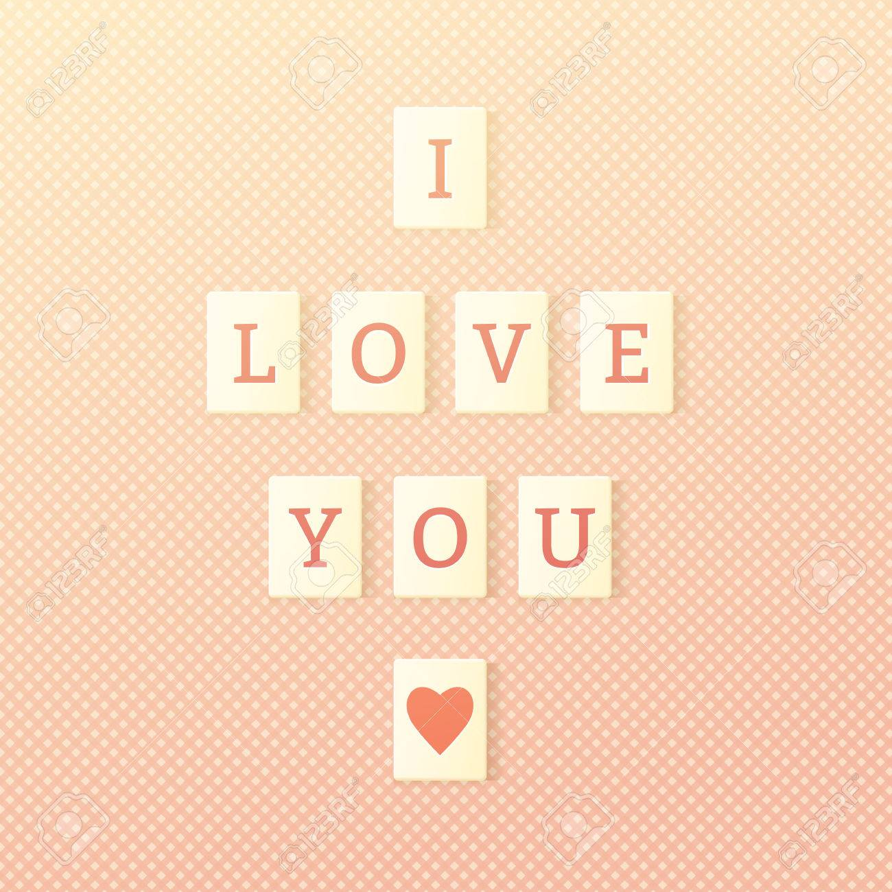scrabble tiles spelling i love you valentines day greetings stock vector