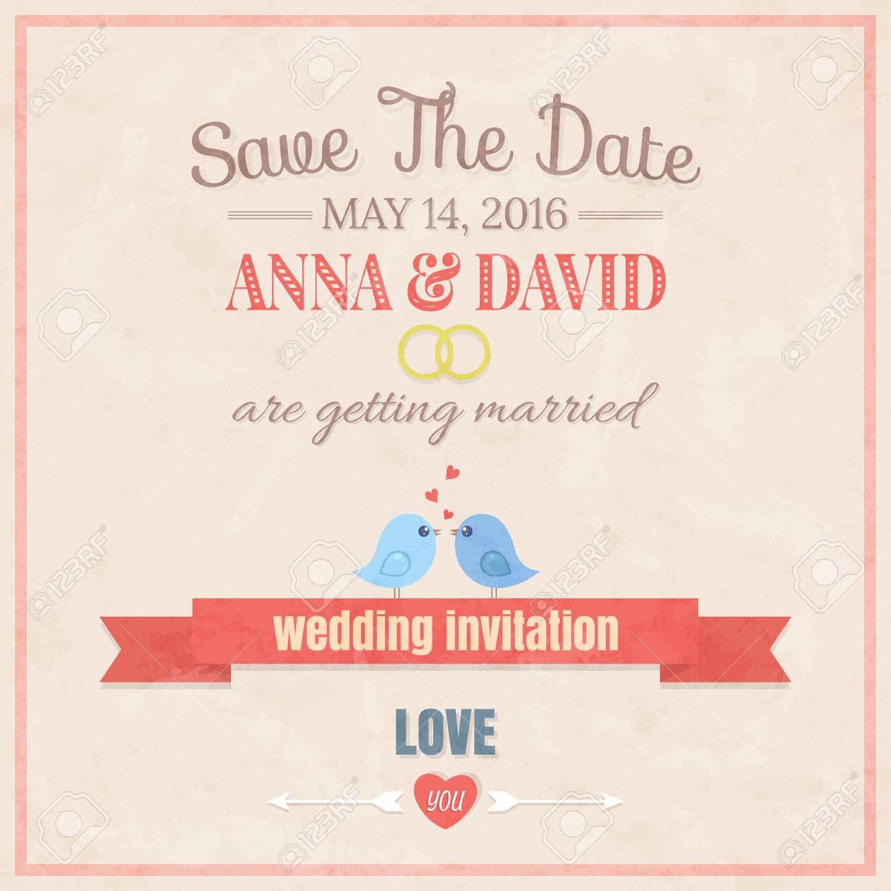 Cute Wedding Invitation Card , Vector Illustration Royalty Free ...