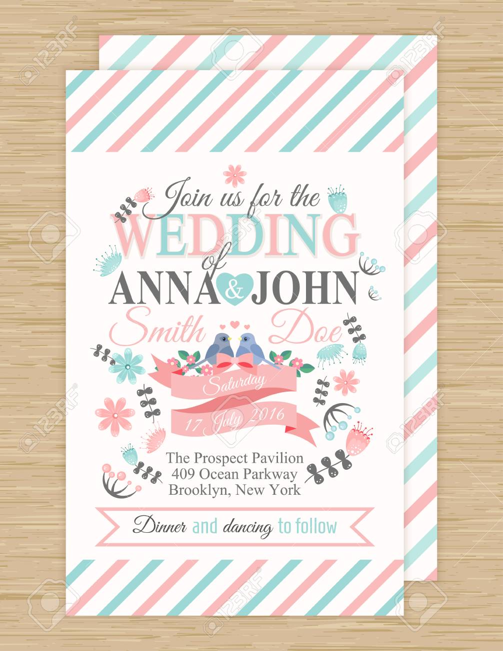 リボン、鳥、花、ベクトル イラストかわいい結婚式招待状