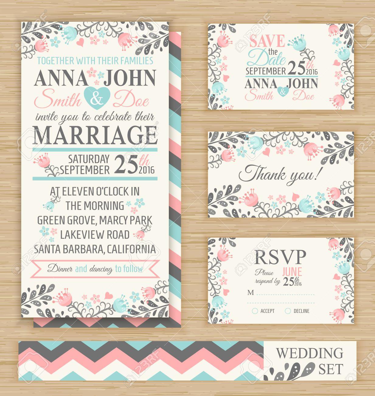 Wedding Invitation Template Thank You Card Save The Date RSVP – Thank You Cards Wedding Template