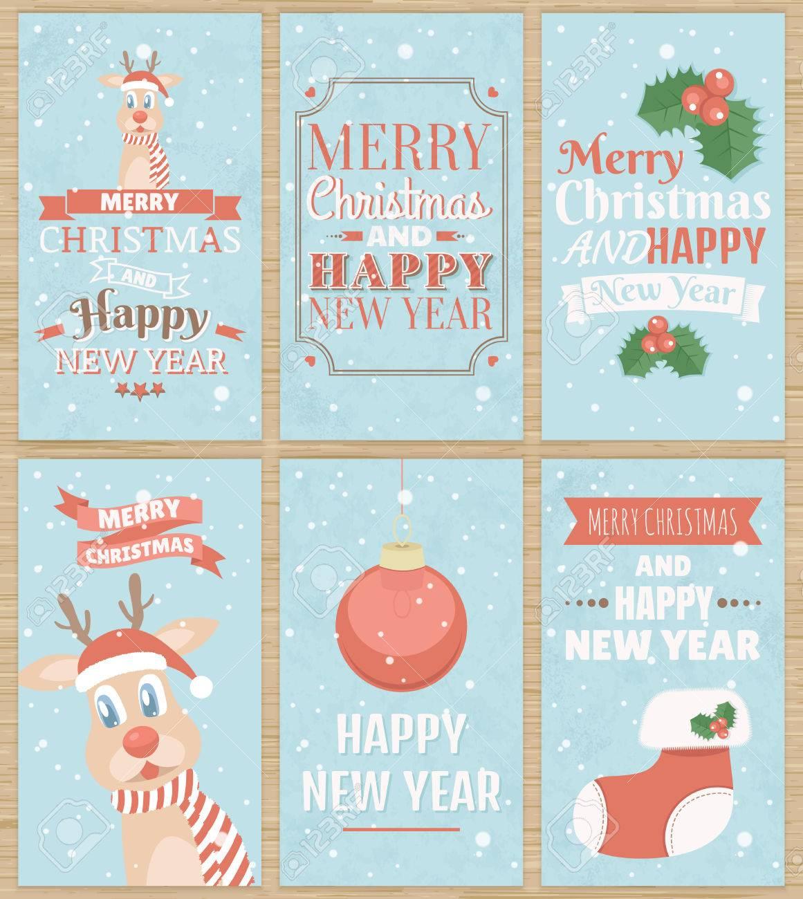 Reindeer Christmas Cards.Set Of Six Christmas Greeting Cards With Cute Reindeer Christmas