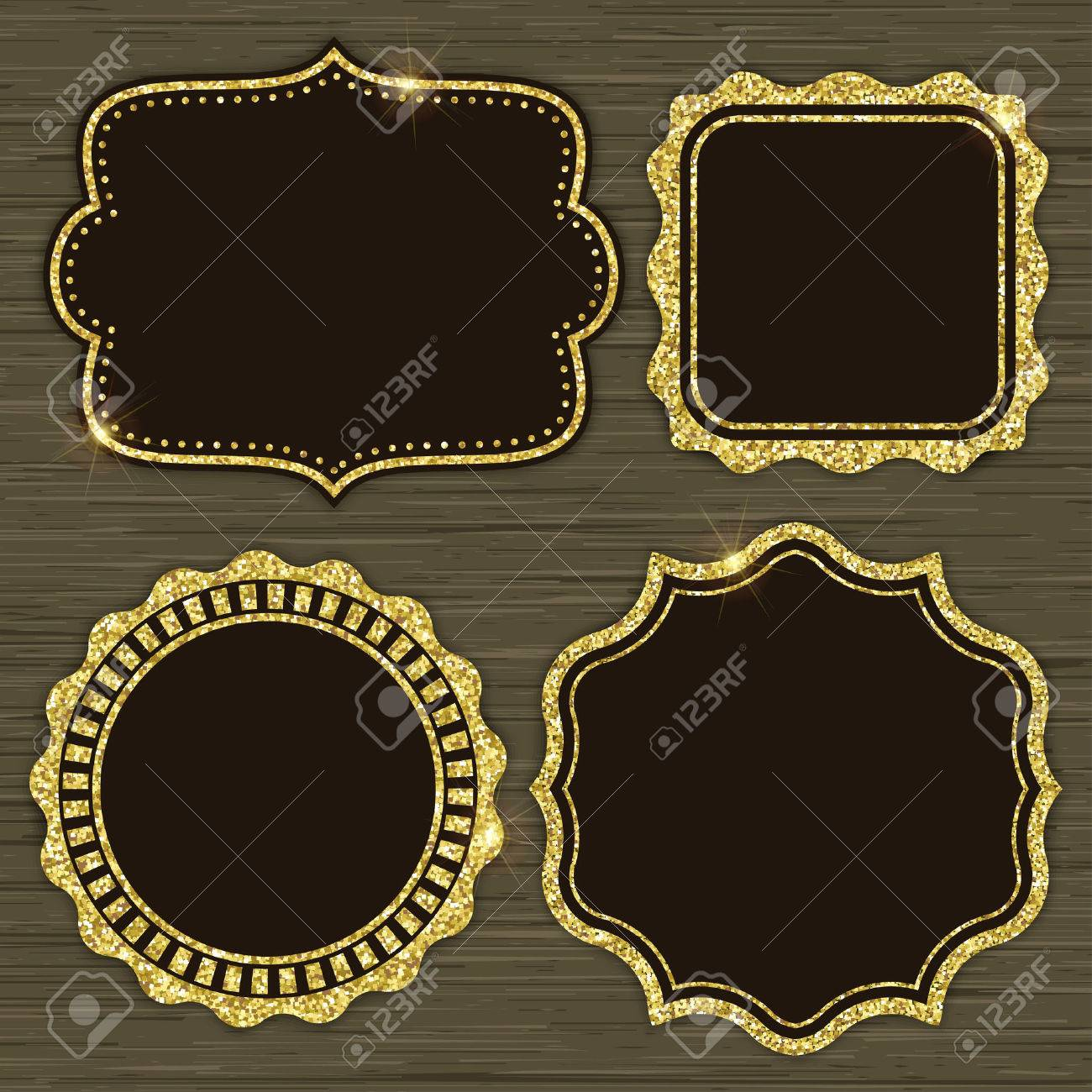 Set Of 4 Gold Glitter Frames For Holiday Designs Or Invitations ...