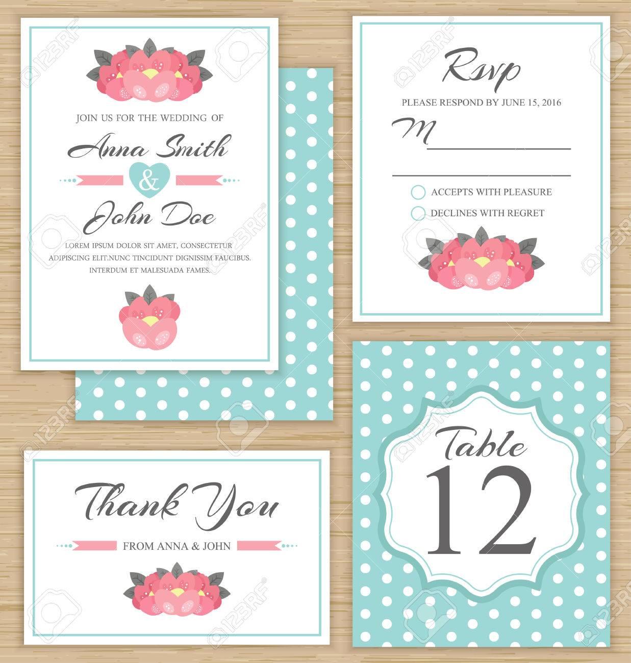 Wedding Invitation Template, Thank You Card, RSVP Card. Wedding ...