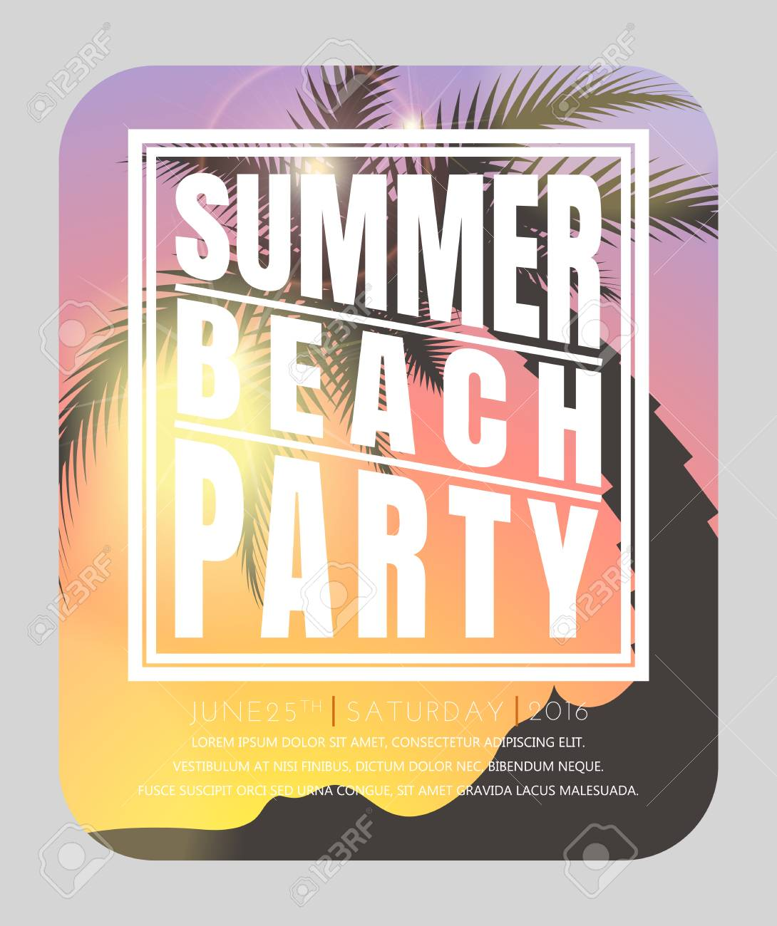 Summer Beach Party . Hello Summer. Summer Card. Summer Background. Summer  Design Illustration