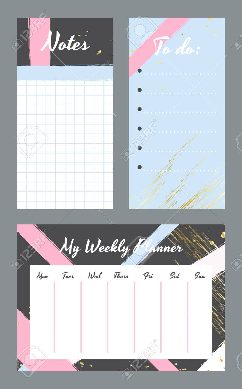 weekly planner template organizer and schedule with notes and to do