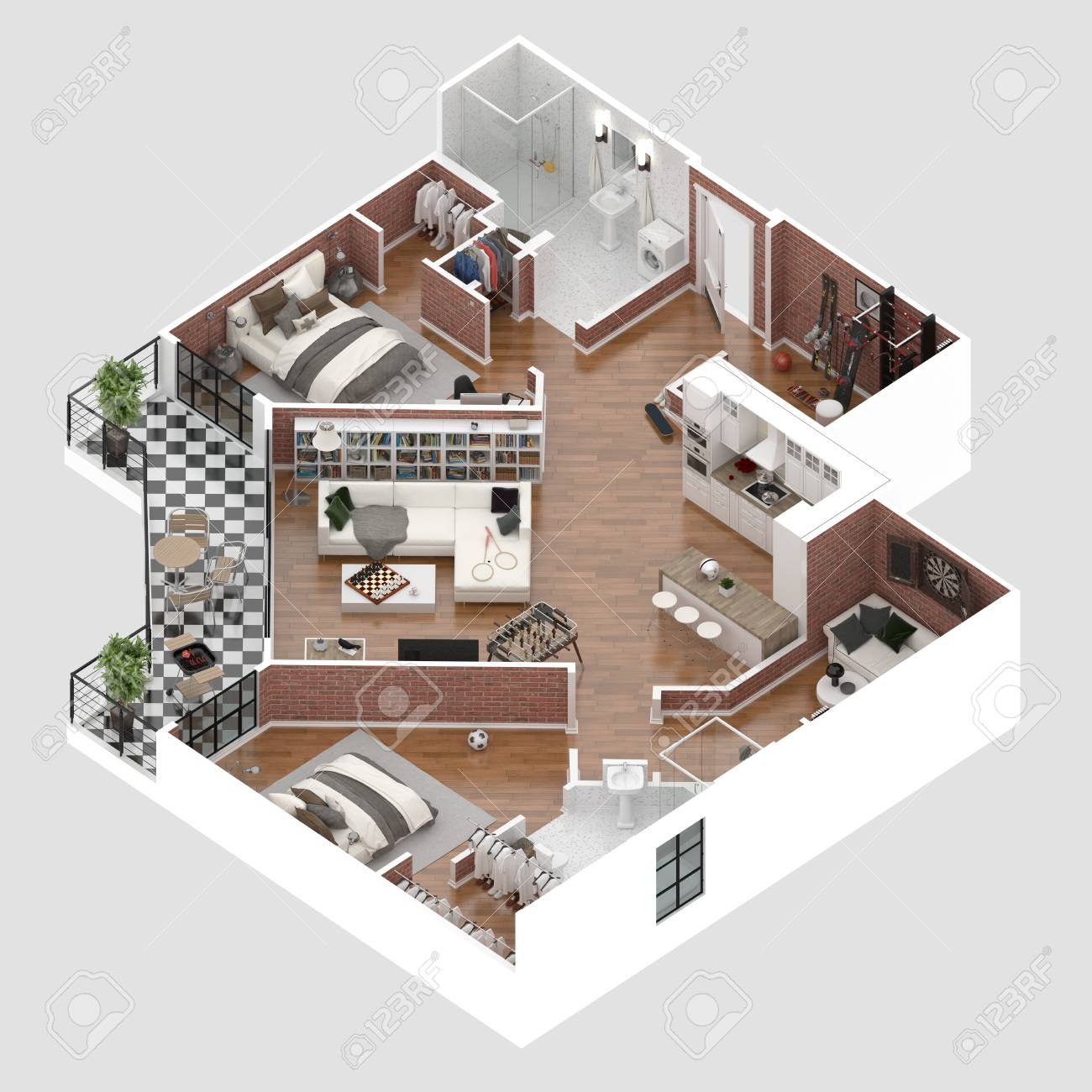 Floor Plan Of A House Top View 3D Illustration. Open Concept.. Stock ...