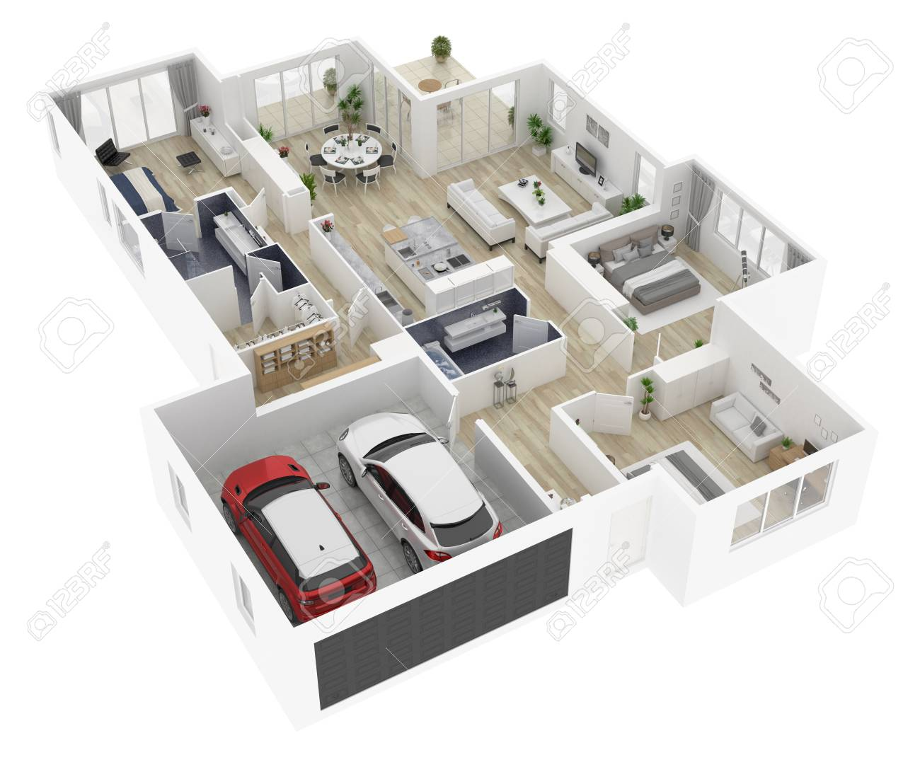 Floor Plan Of A House Top View 3d Illustration Open Concept Stock