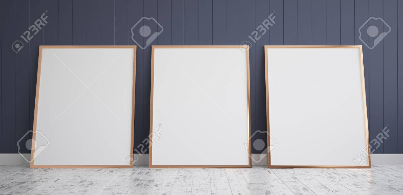 Three Frames With Poster Mockup Standing On The Wooden Floor ...