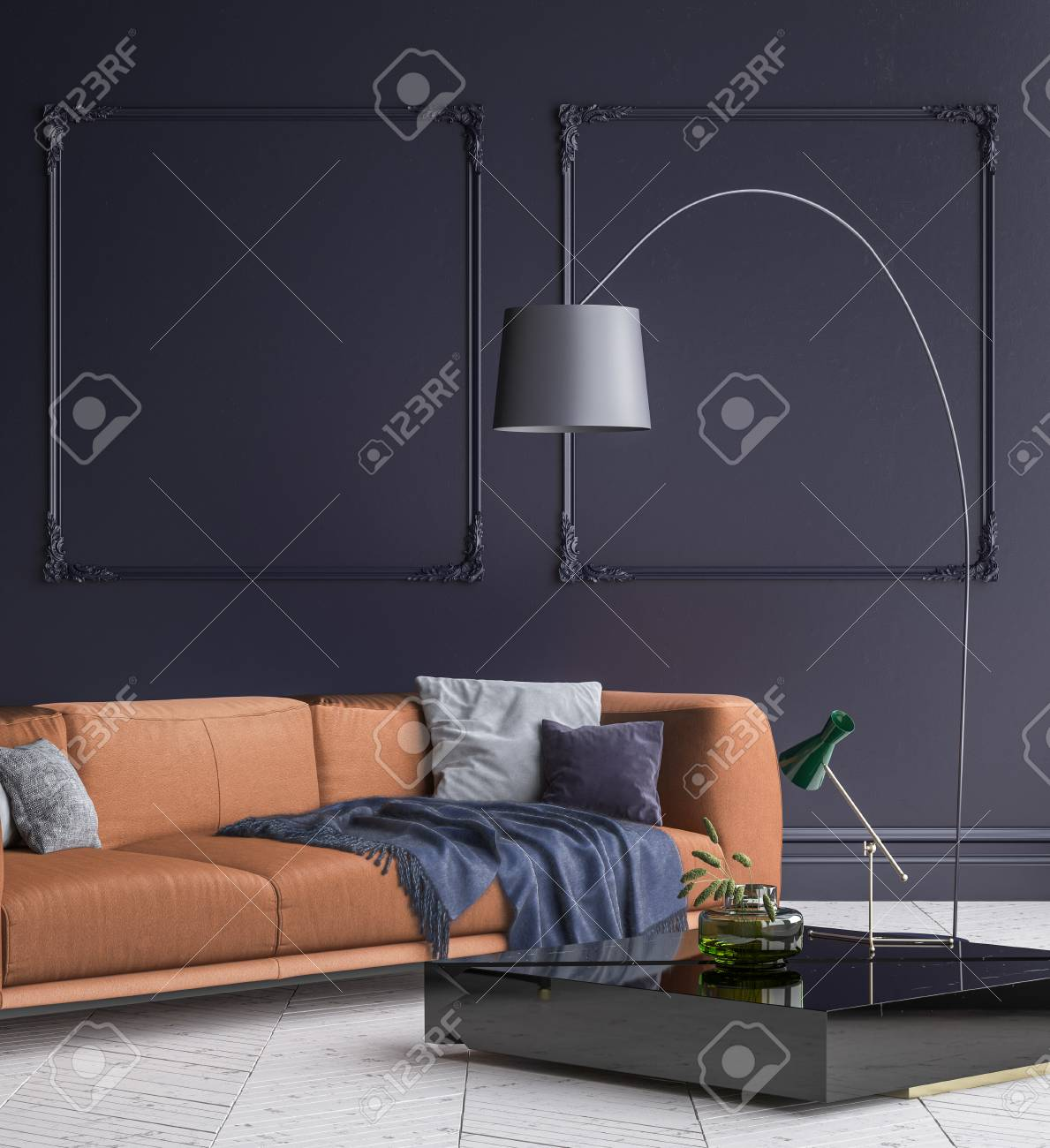 Luxury Modern Dark Blue Living Room Interior With White Parquet Stock Photo Picture And Royalty Free Image Image 101514144