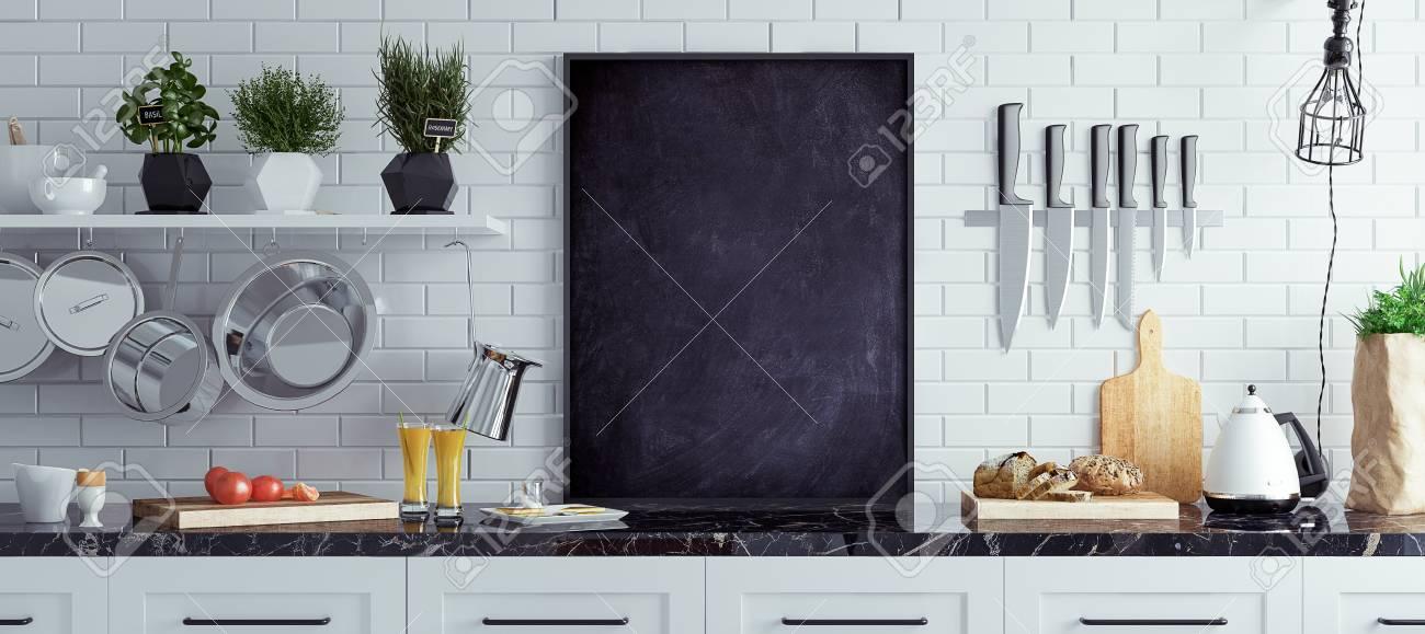 Mock Up Chalkboard In Kitchen Interior, Scandinavian Style, Panoramic  Background, 3d Render Stock