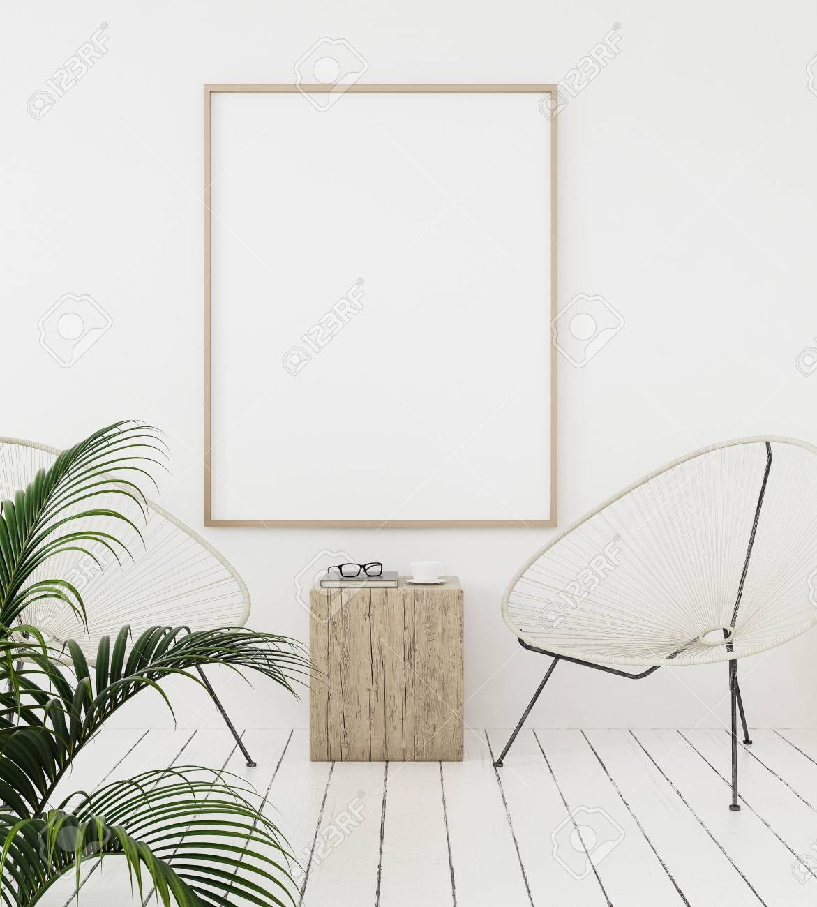 Mock-up poster frame on wall with minimal decor, Scandinavian style, 3d render - 105660985