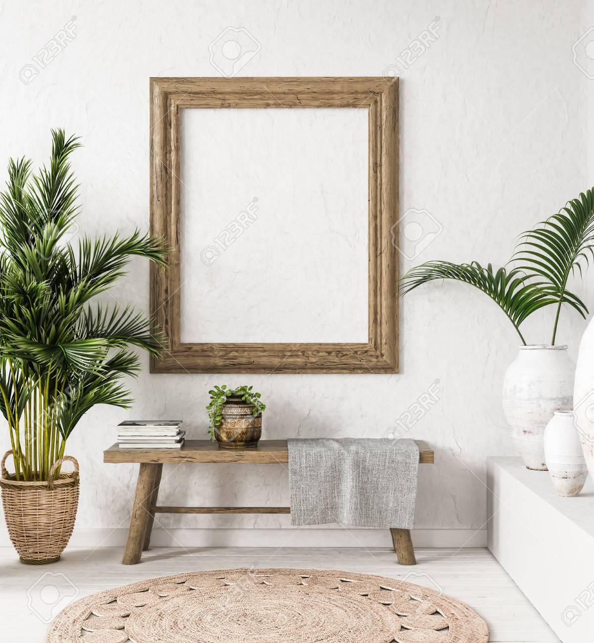 Old wooden frame mock-up in interior background,Scandi-boho style, 3d render - 106095713