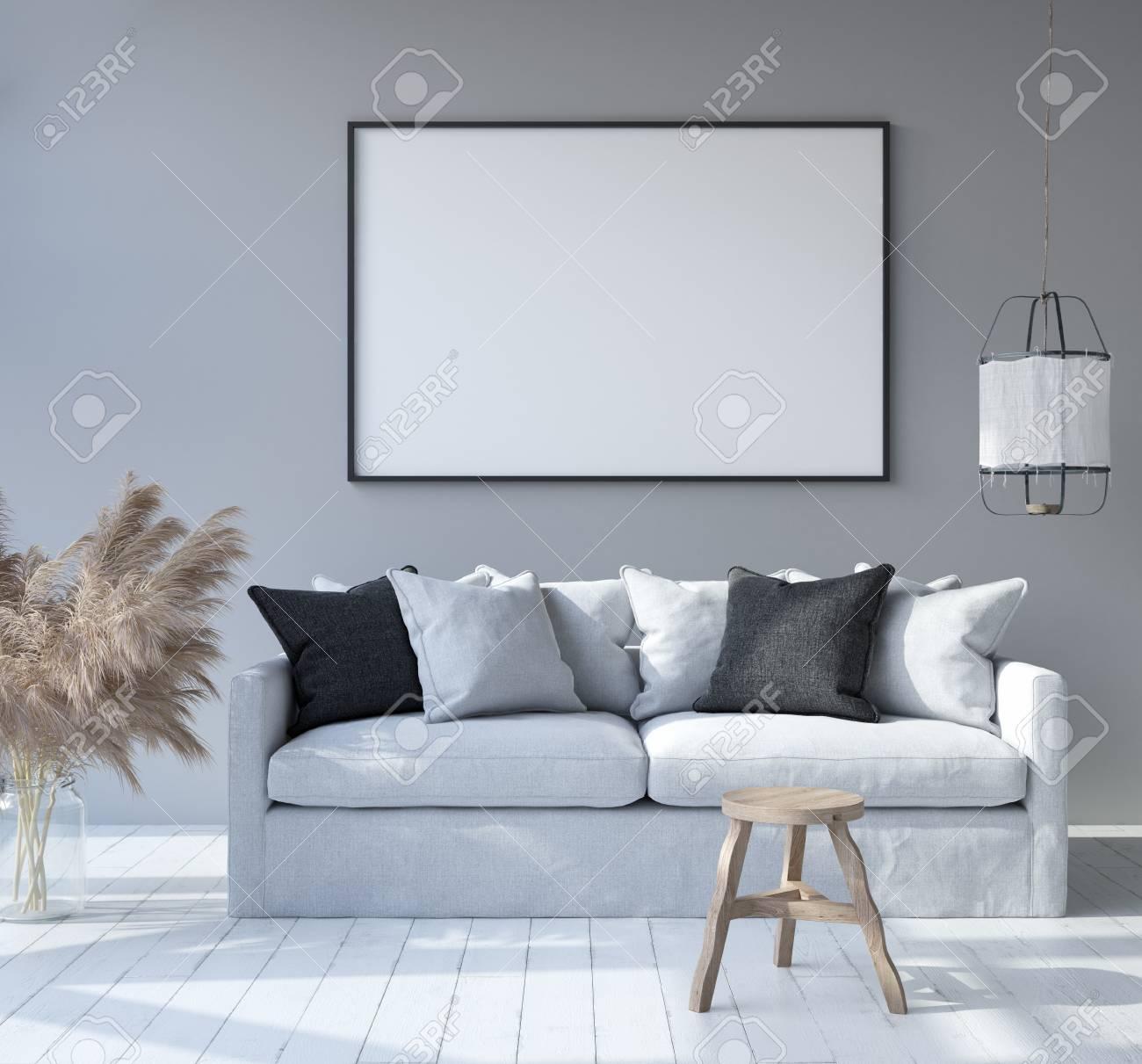 Scandinavian Bohemian style living room, 3D render