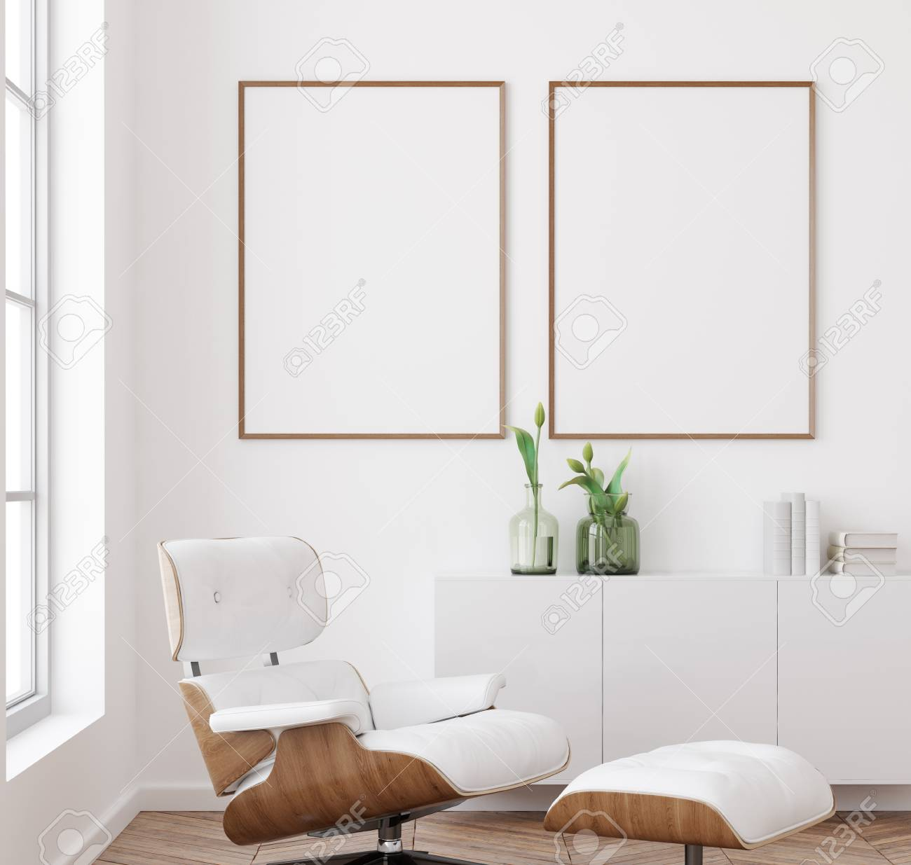 Mockup Poster Frame In White Living Room Interior Background Stock Photo Picture And Royalty Free Image Image 120462489