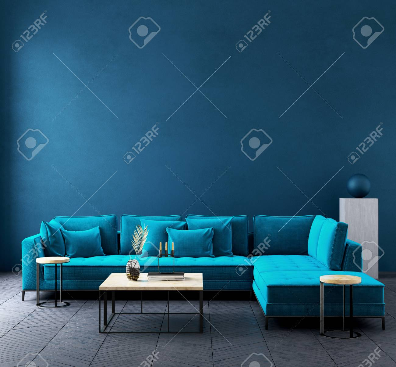 Modern Dark Blue Living Room Interior With Azure Color Couch Wall